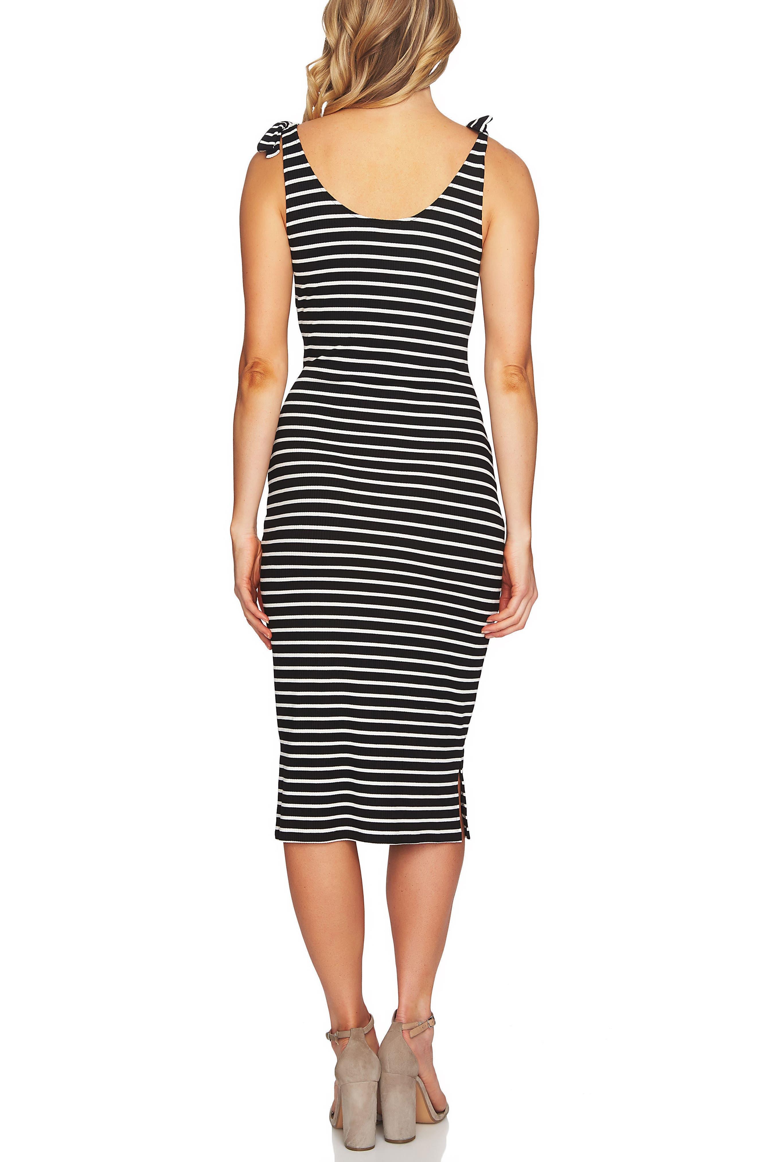 Stripe Knit Tank Dress,                             Alternate thumbnail 2, color,                             Rich Black