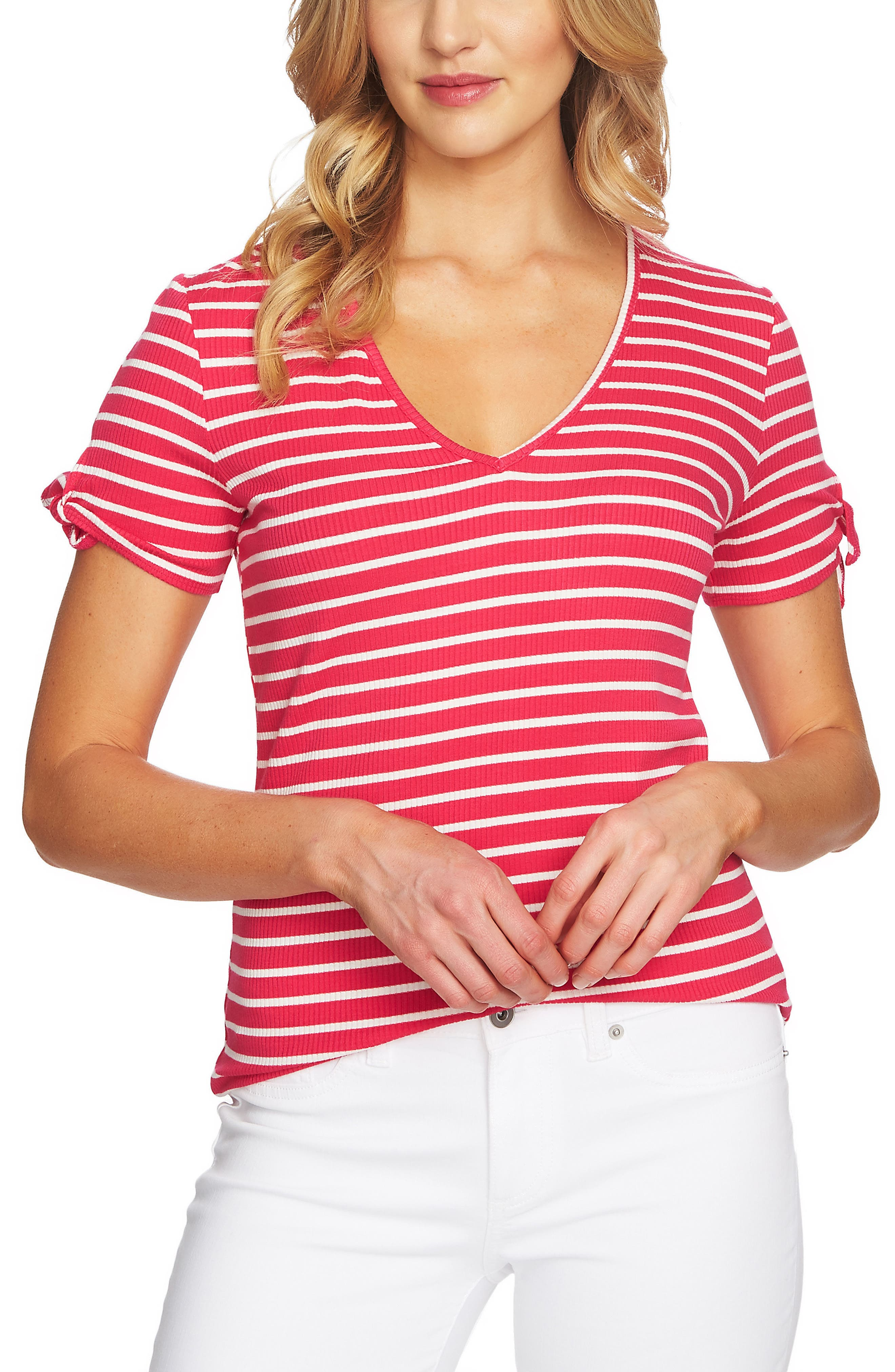 Stripe Rib Knit Top,                             Main thumbnail 1, color,                             Viva Pink
