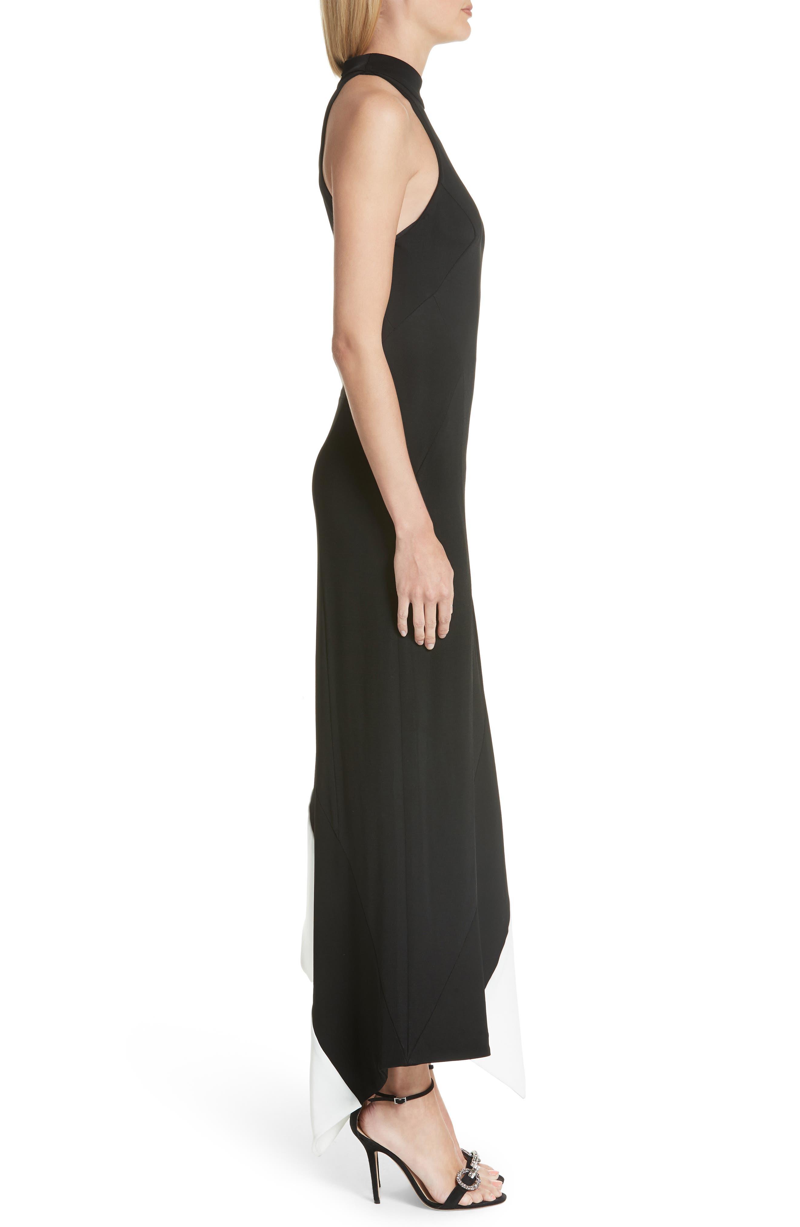 Colorblock Asymmetrical Gown,                             Alternate thumbnail 3, color,                             Black W/ White