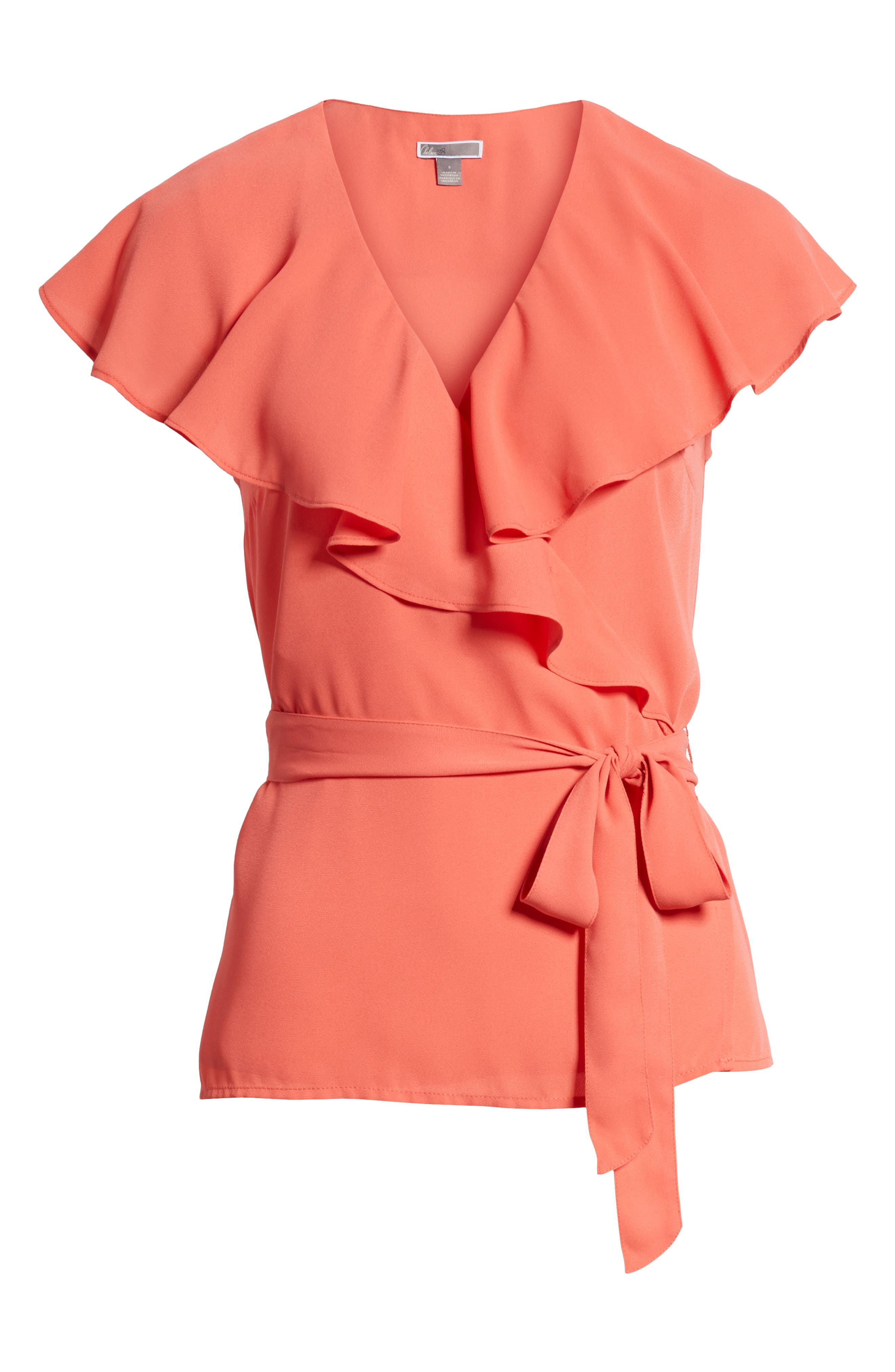 Wrap Top,                             Alternate thumbnail 7, color,                             Coral Spice