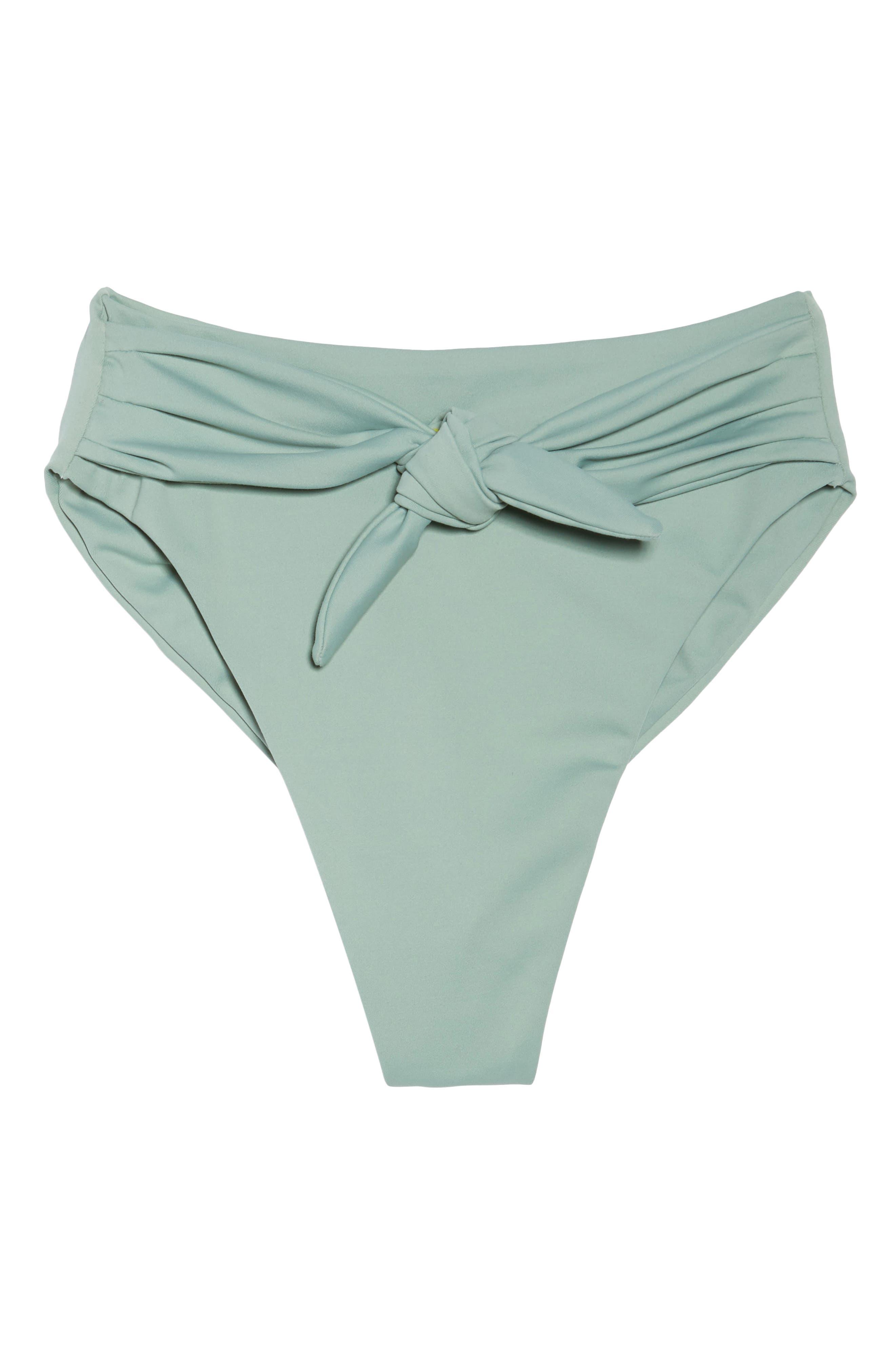 Paula Tie-Up Bikini Bottoms,                             Alternate thumbnail 9, color,                             Pistache Green