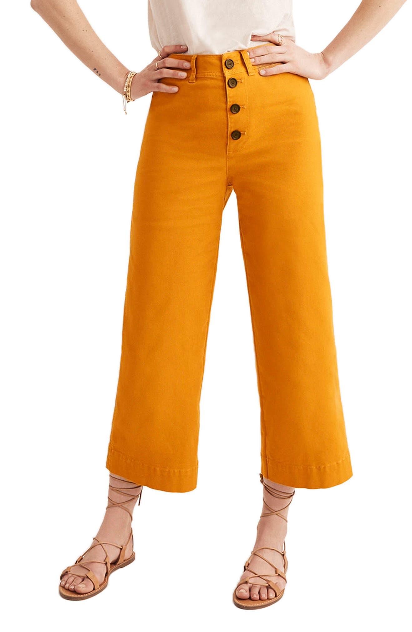 Emmett Wide Leg Crop Pants,                         Main,                         color, Bronzed Leaf