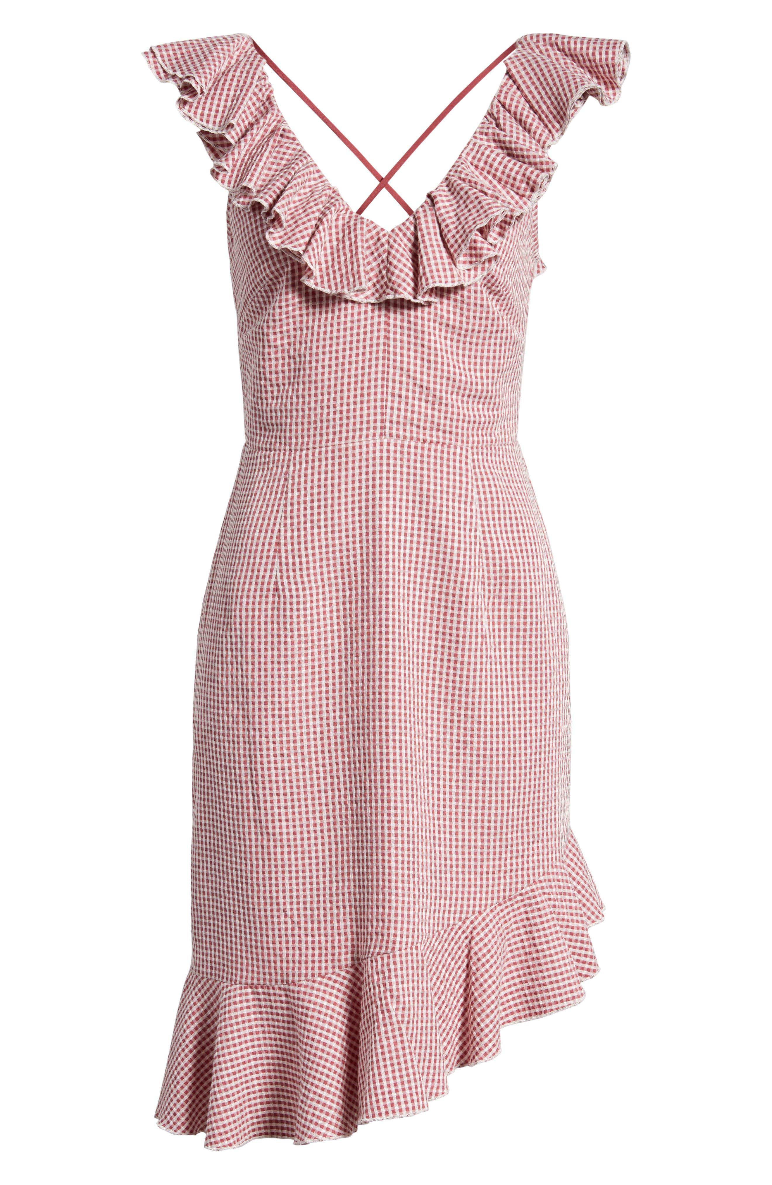 Asymmetrical Ruffle Dress,                             Alternate thumbnail 7, color,                             Red Gingham
