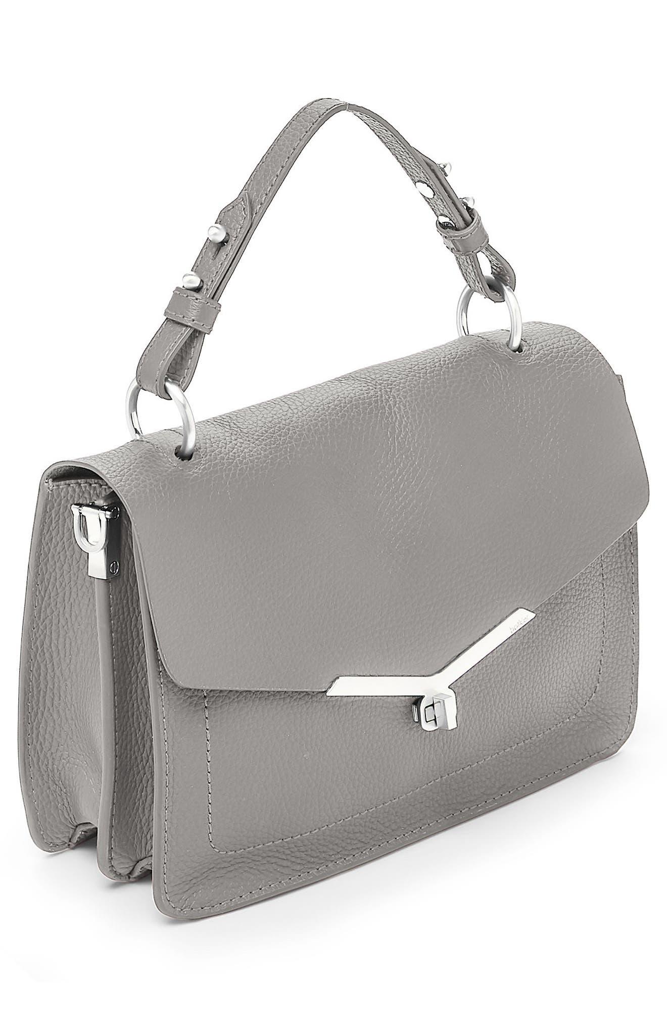 Vivi Calfskin Leather Satchel,                             Alternate thumbnail 3, color,                             Grey
