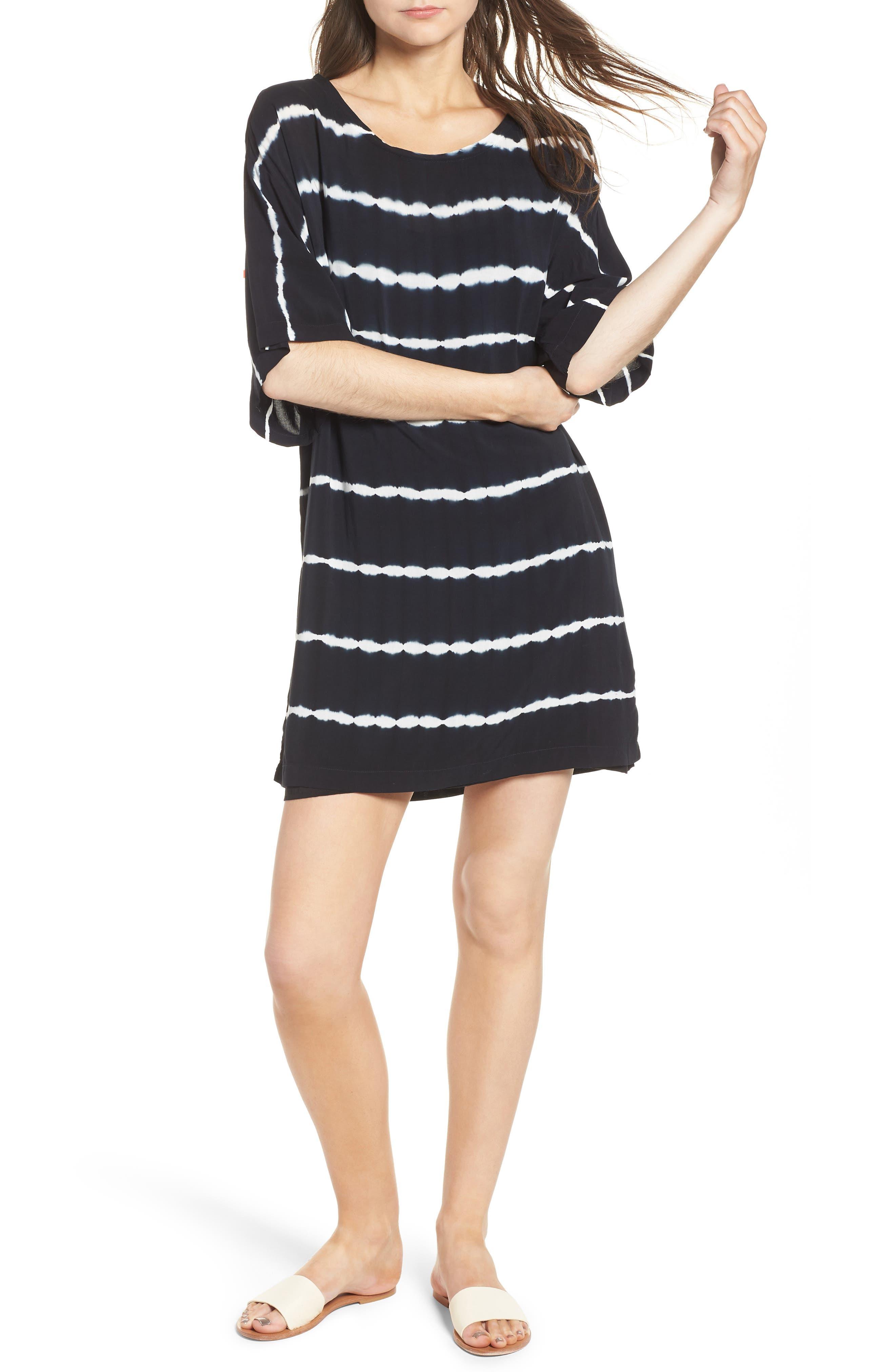 Tie Dye Stripe T-Shirt Dress,                             Main thumbnail 1, color,                             Navy/ White