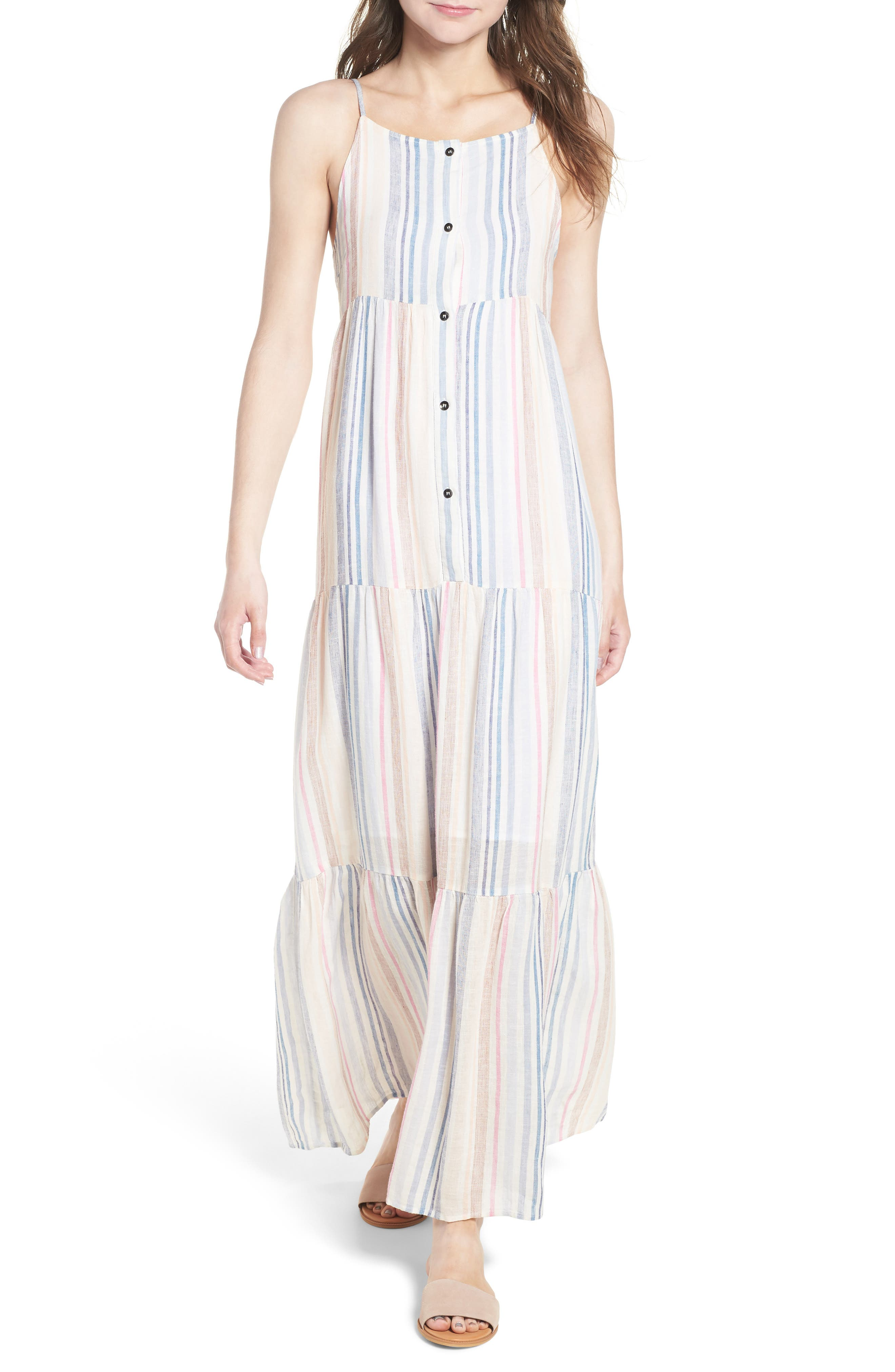 Multistripe Linen Maxi Dress,                             Main thumbnail 1, color,                             Multi