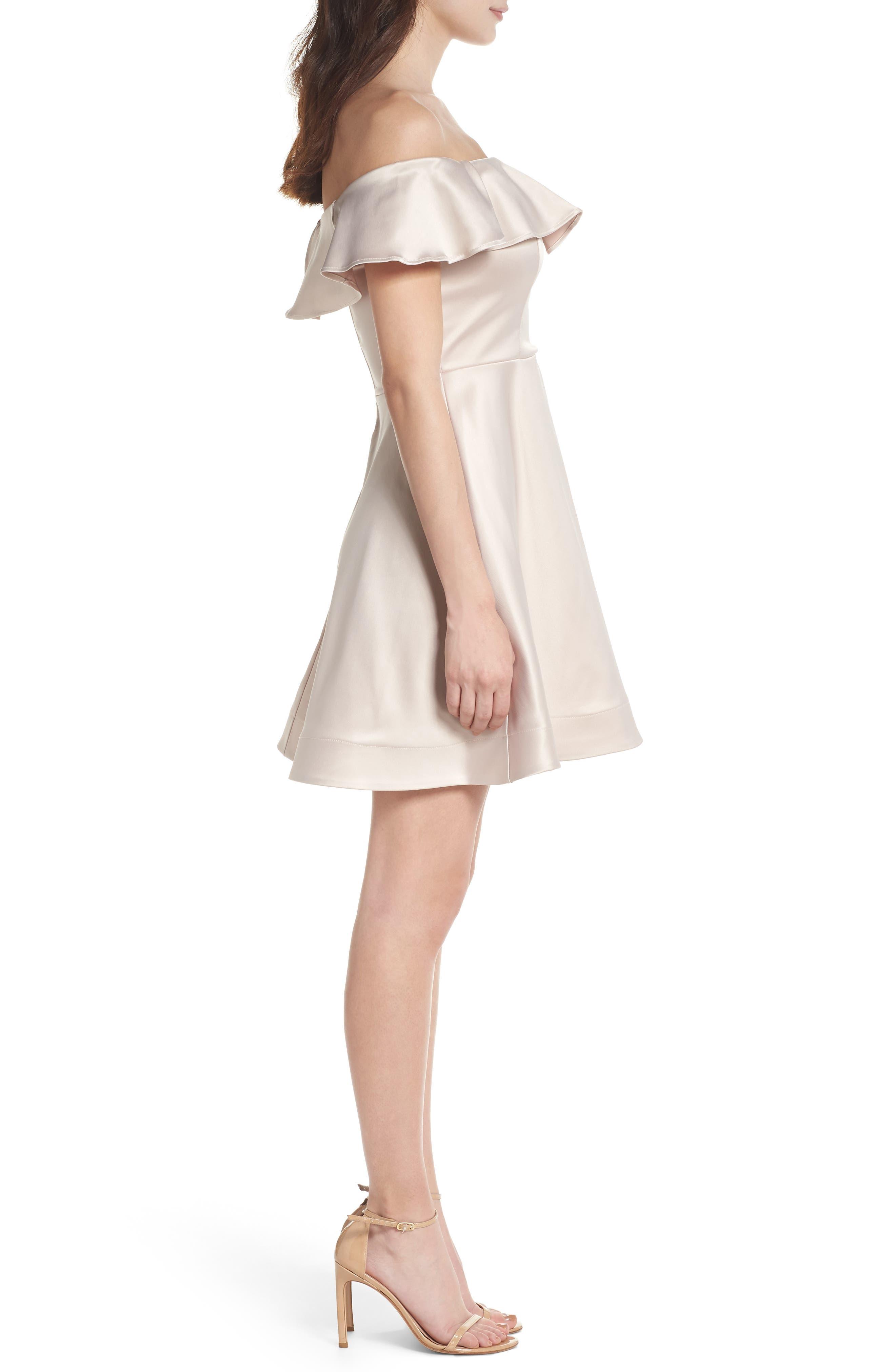 Off the Shoulder Satin Fit & Flare Dress,                             Alternate thumbnail 3, color,                             Blush