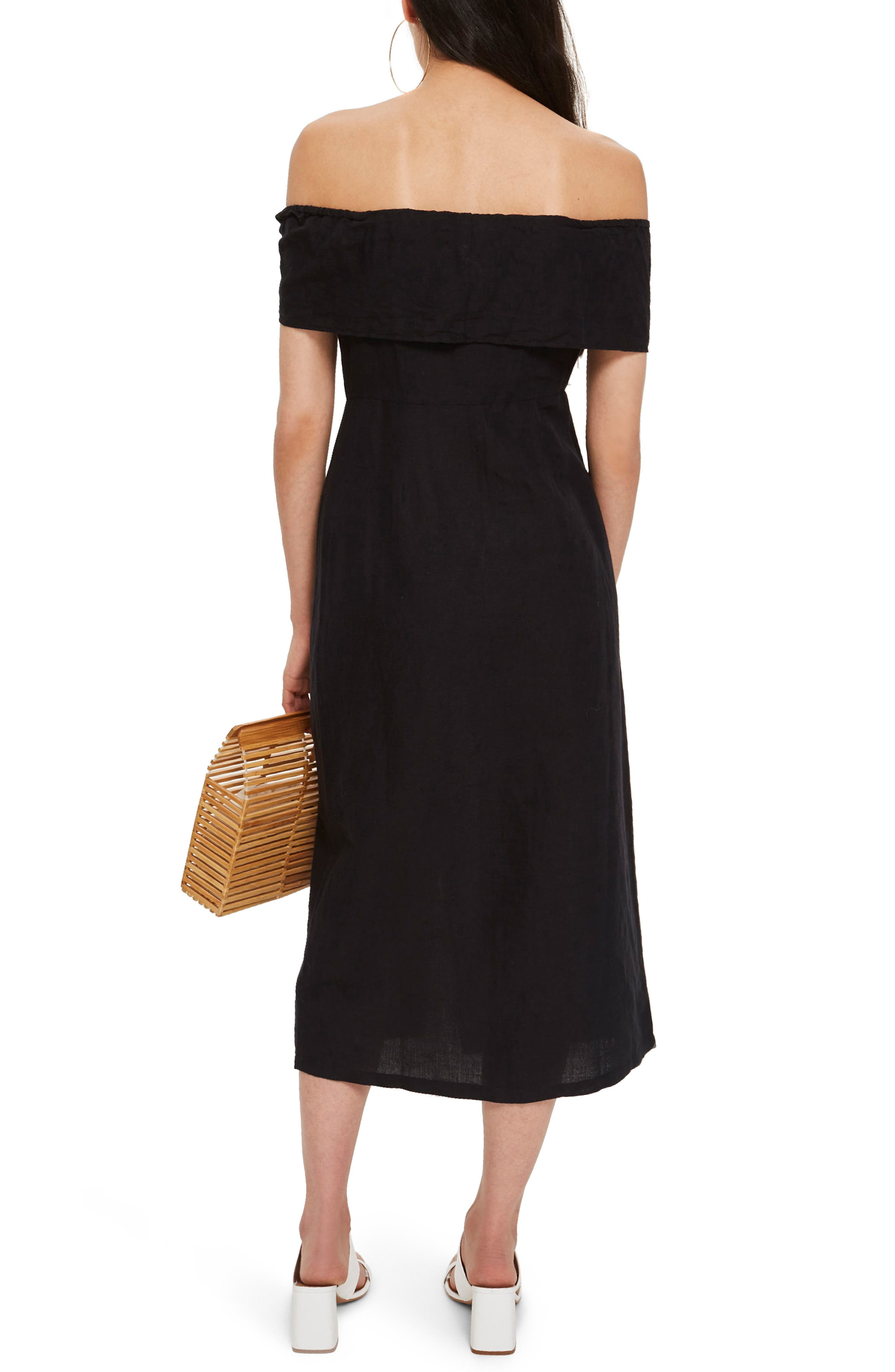 Linen Off the Shoulder Midi Dress,                             Alternate thumbnail 2, color,                             Black