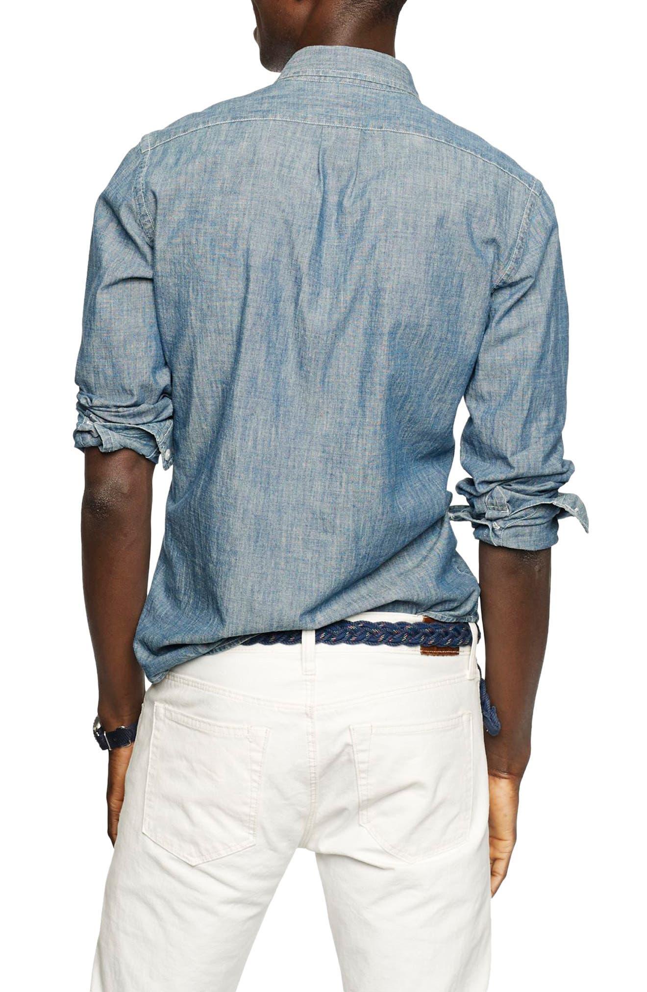 Slim Fit Indigo Chambray Sport Shirt,                             Alternate thumbnail 2, color,                             Indigo