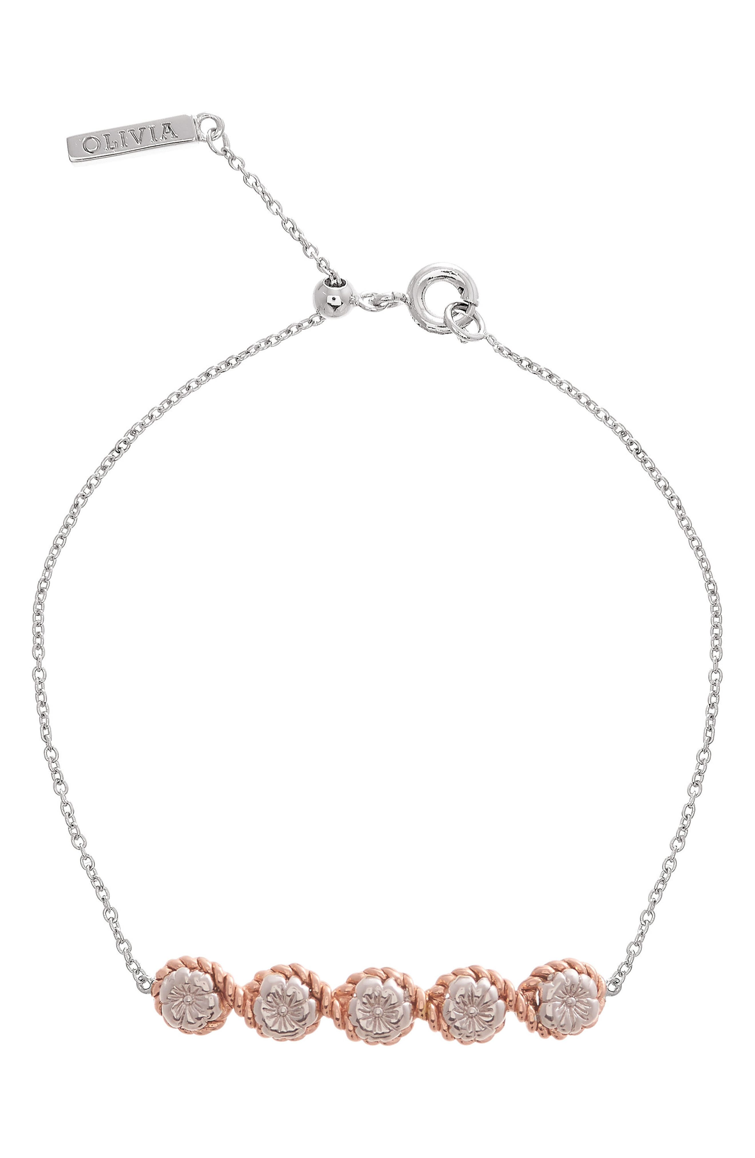 Flower Show Rope Chain Bracelet,                         Main,                         color, Silver / Rose Gold