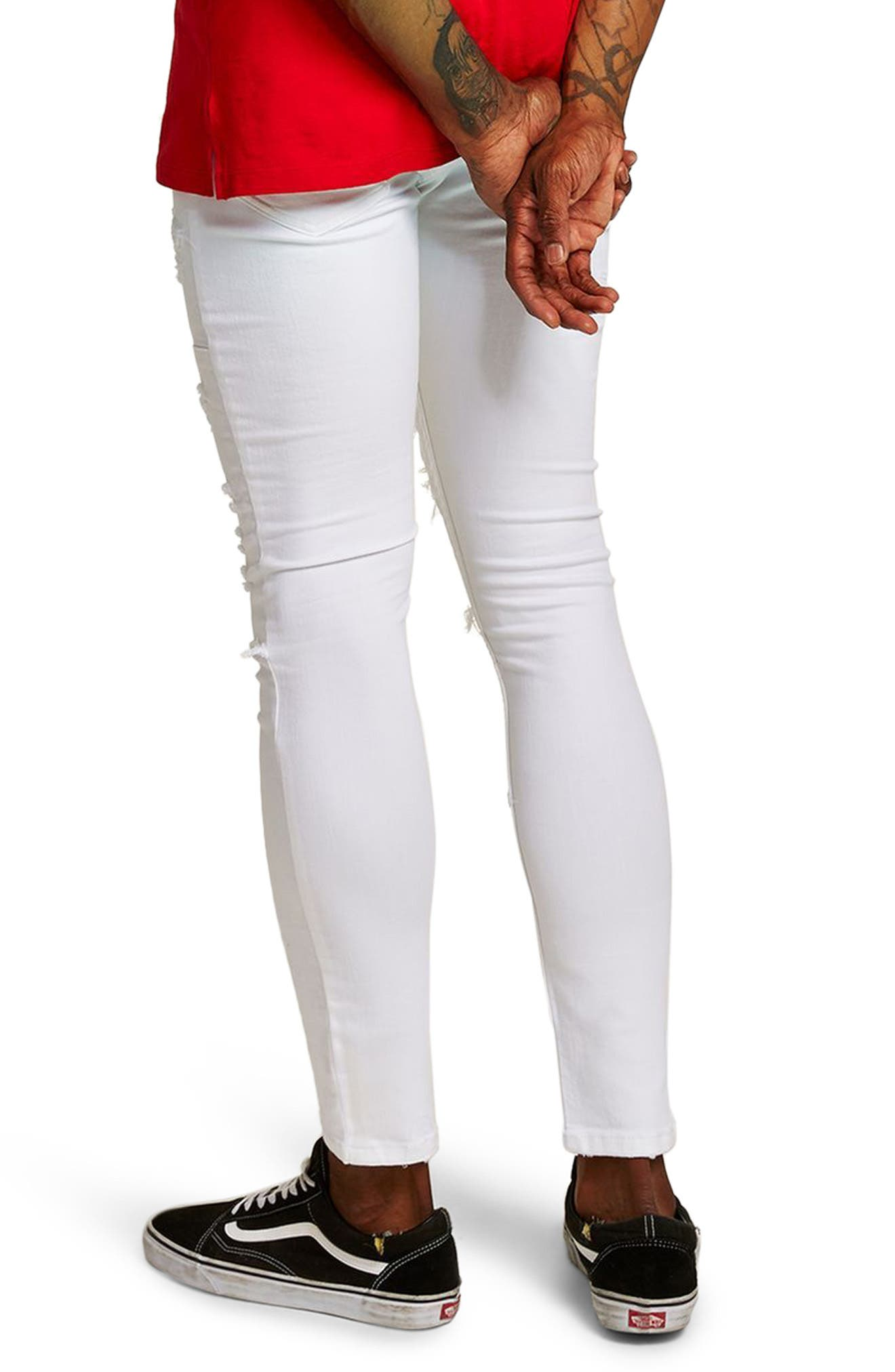 Spray-On Skinny Fit Ripped Jeans,                             Alternate thumbnail 2, color,                             White