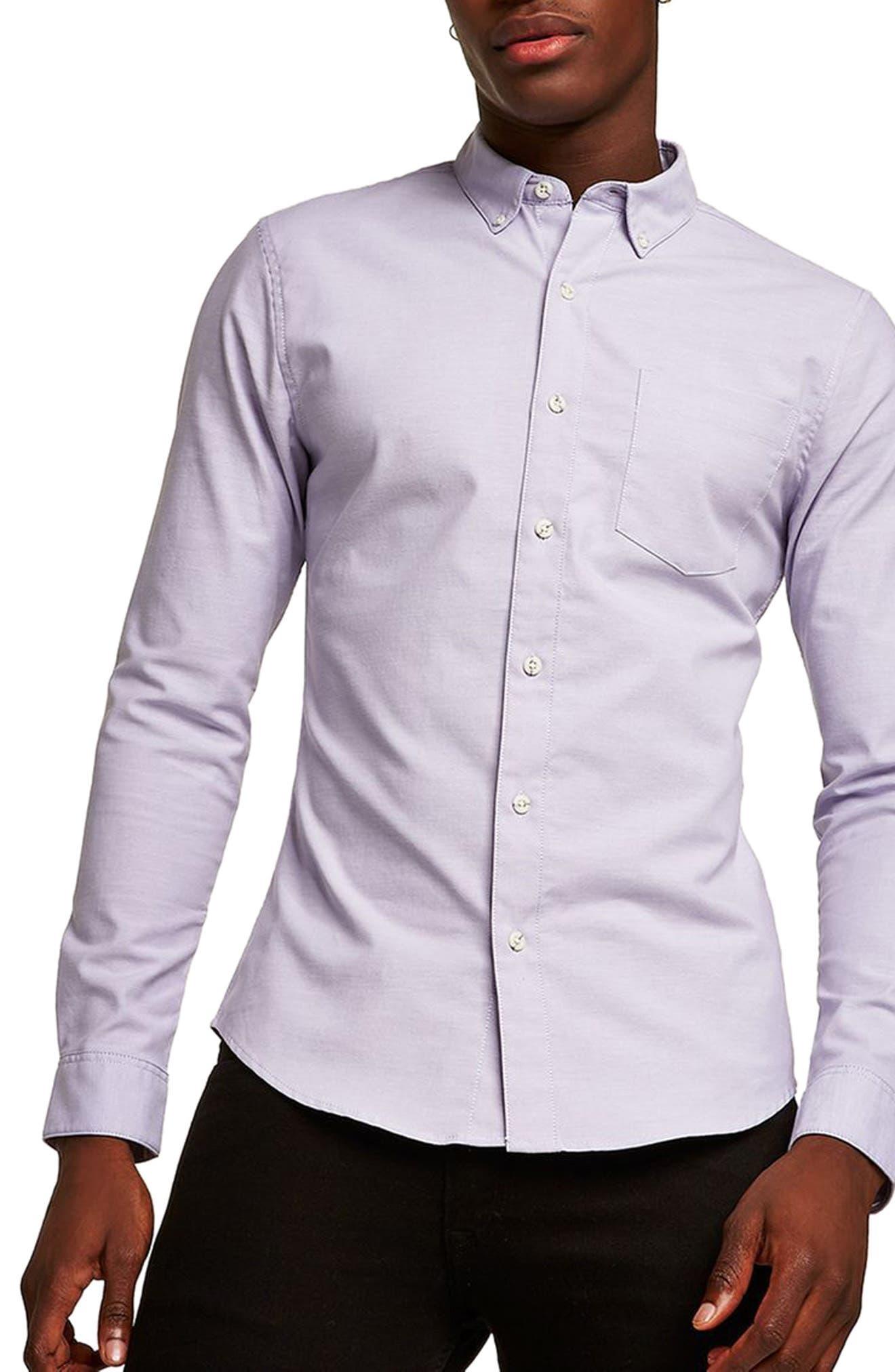 Muscle Fit Oxford Shirt,                         Main,                         color, Purple
