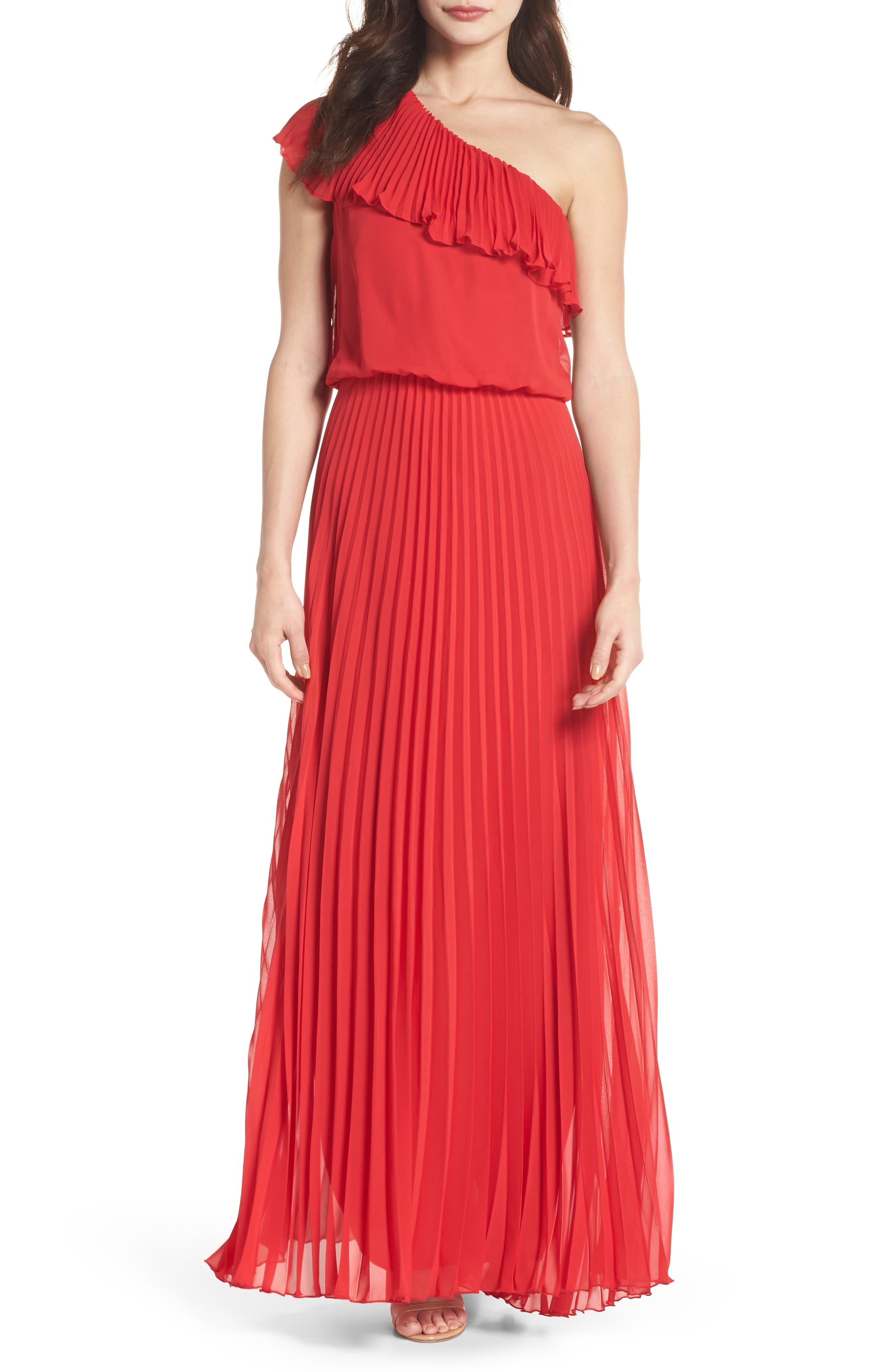 One-Shoulder Pleat Chiffon Gown,                         Main,                         color, Red