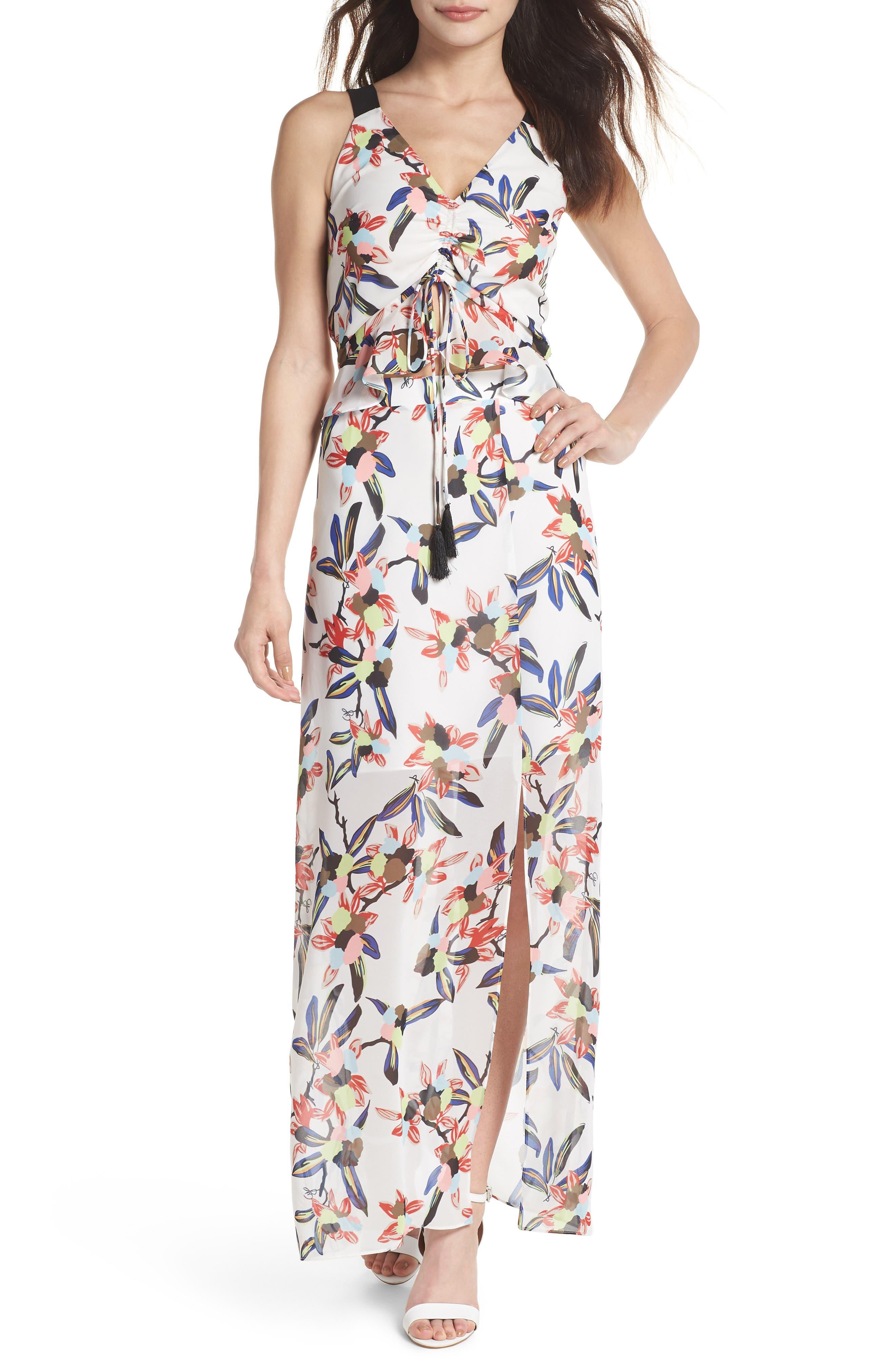 Floral Print Maxi Dress,                             Main thumbnail 1, color,                             White Multi