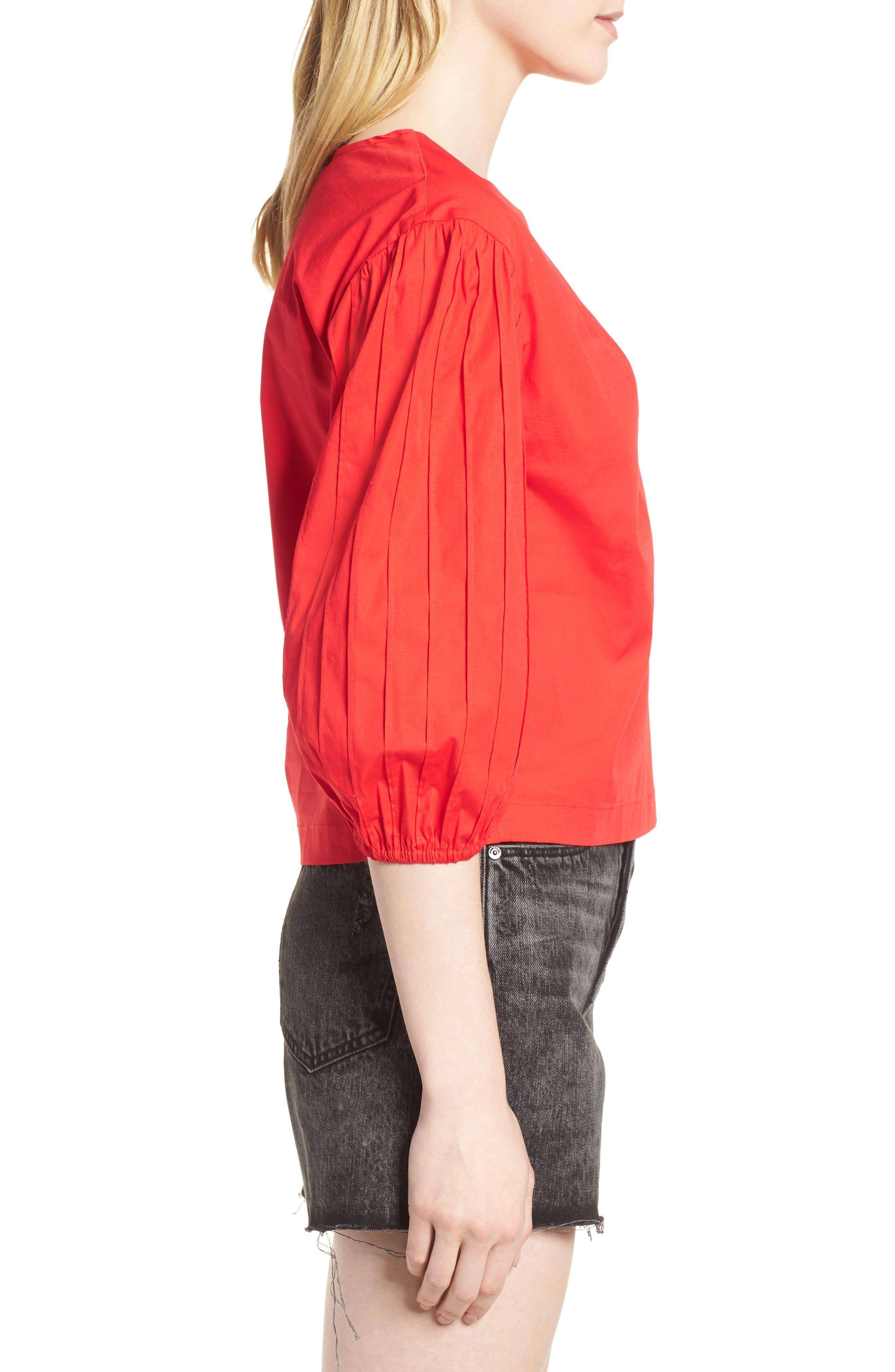 Leah Blouson Sleeve Top,                             Alternate thumbnail 3, color,                             Fiery Red