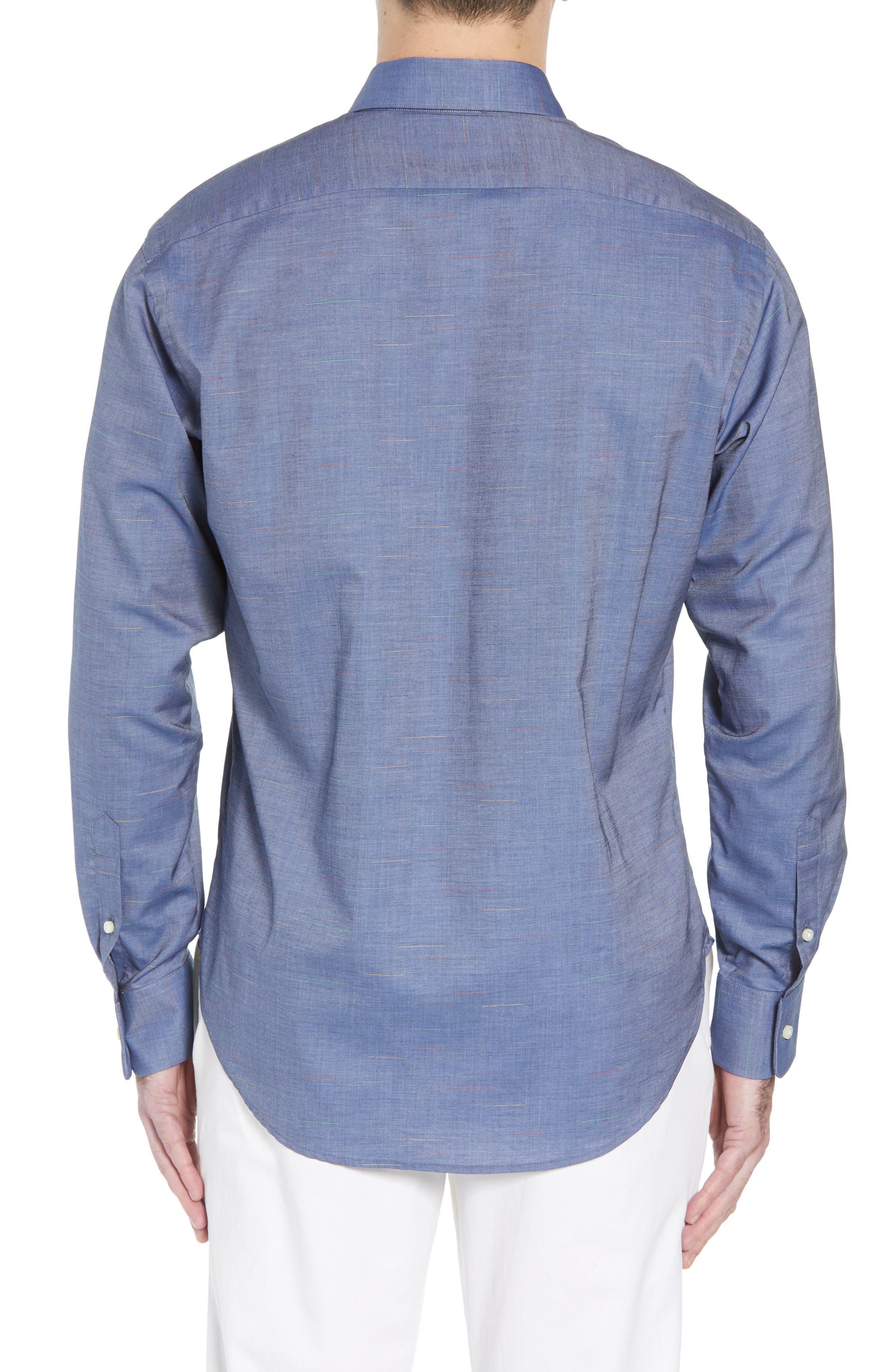 Regular Fit Chambray Sport Shirt,                             Alternate thumbnail 2, color,                             Blue
