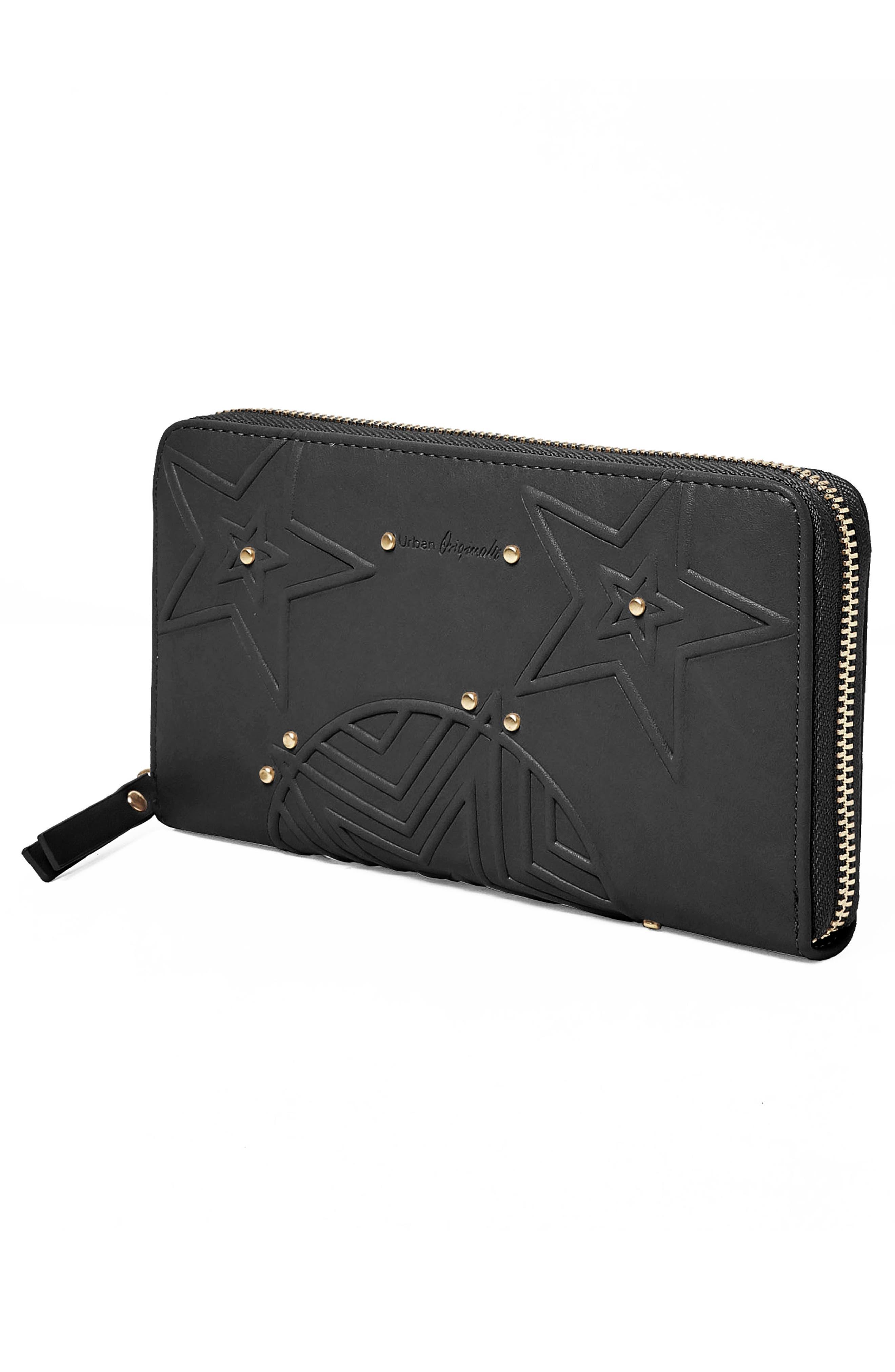 Cosmic Vegan Leather Wallet,                             Alternate thumbnail 3, color,                             Black