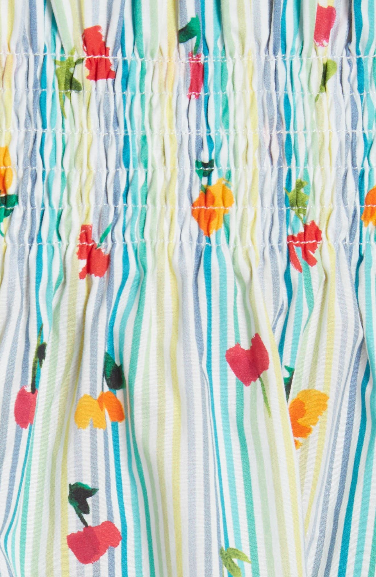 Lou Off the Shoulder Crop Top,                             Alternate thumbnail 5, color,                             Multi Stripe
