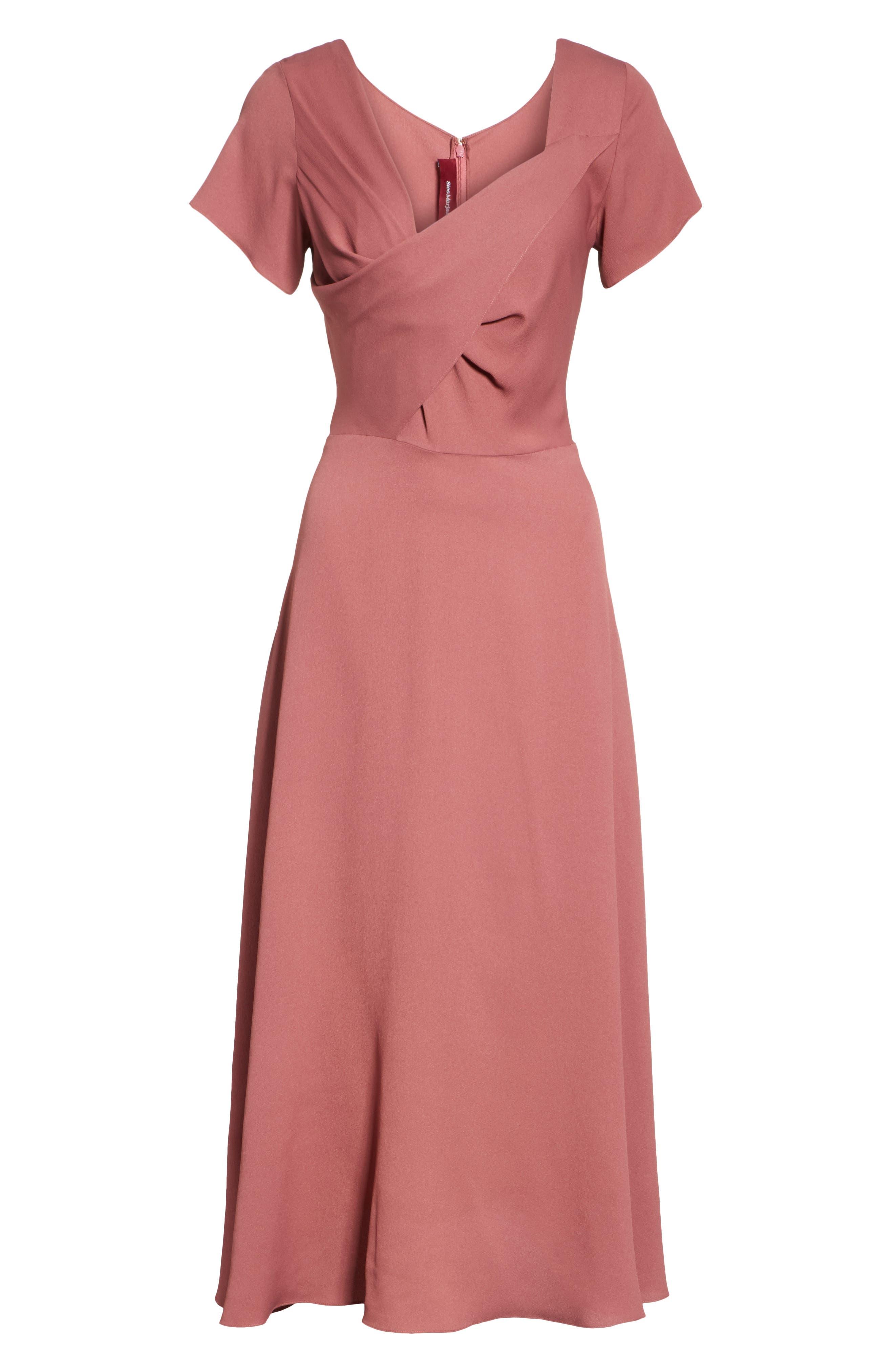 Asymmetrical Fold Bodice Dress,                             Alternate thumbnail 7, color,                             Dark Salmon