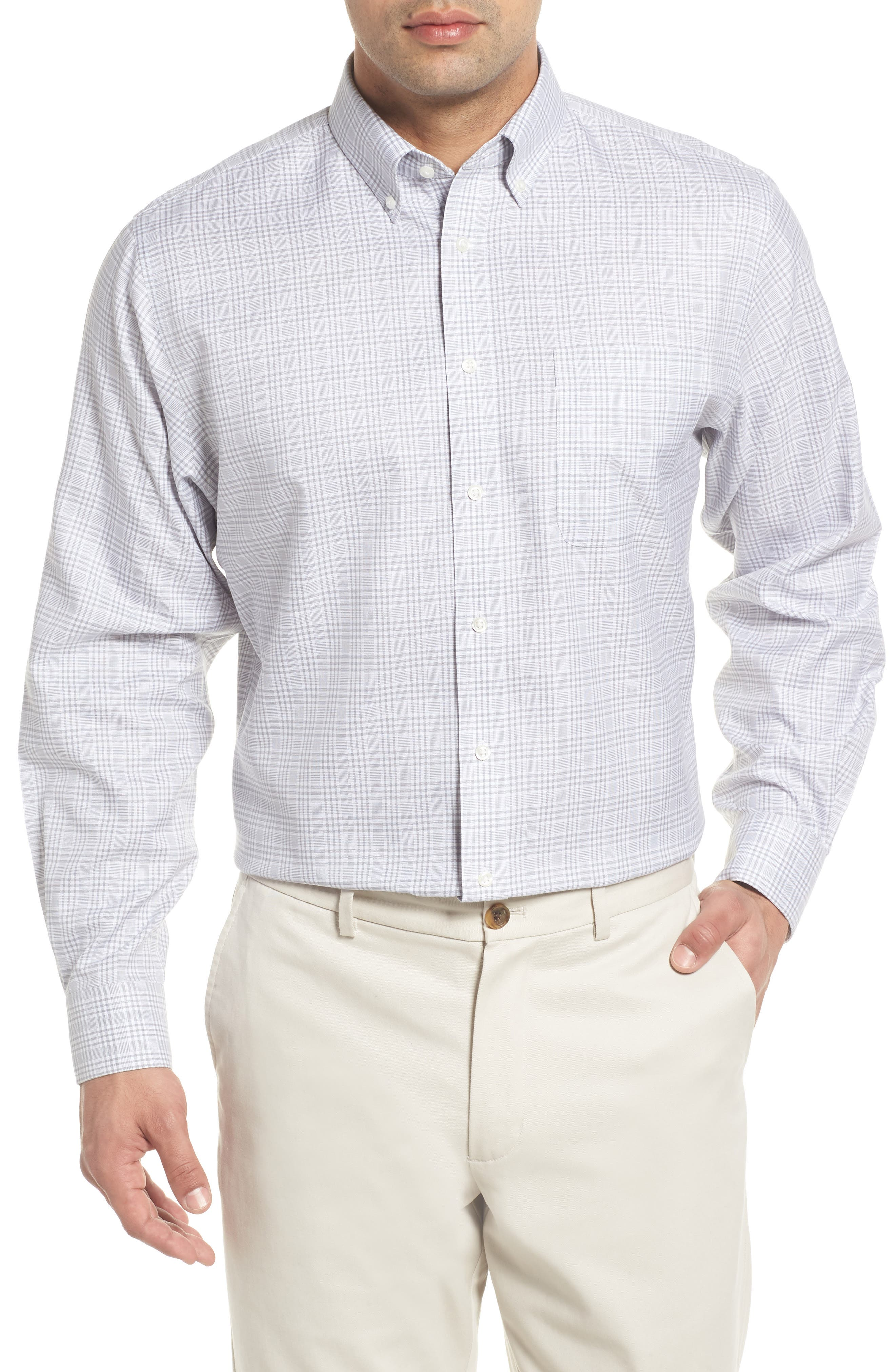 Smartcare<sup>™</sup> Traditional Fit Plaid Dress Shirt,                         Main,                         color, Grey Sleet