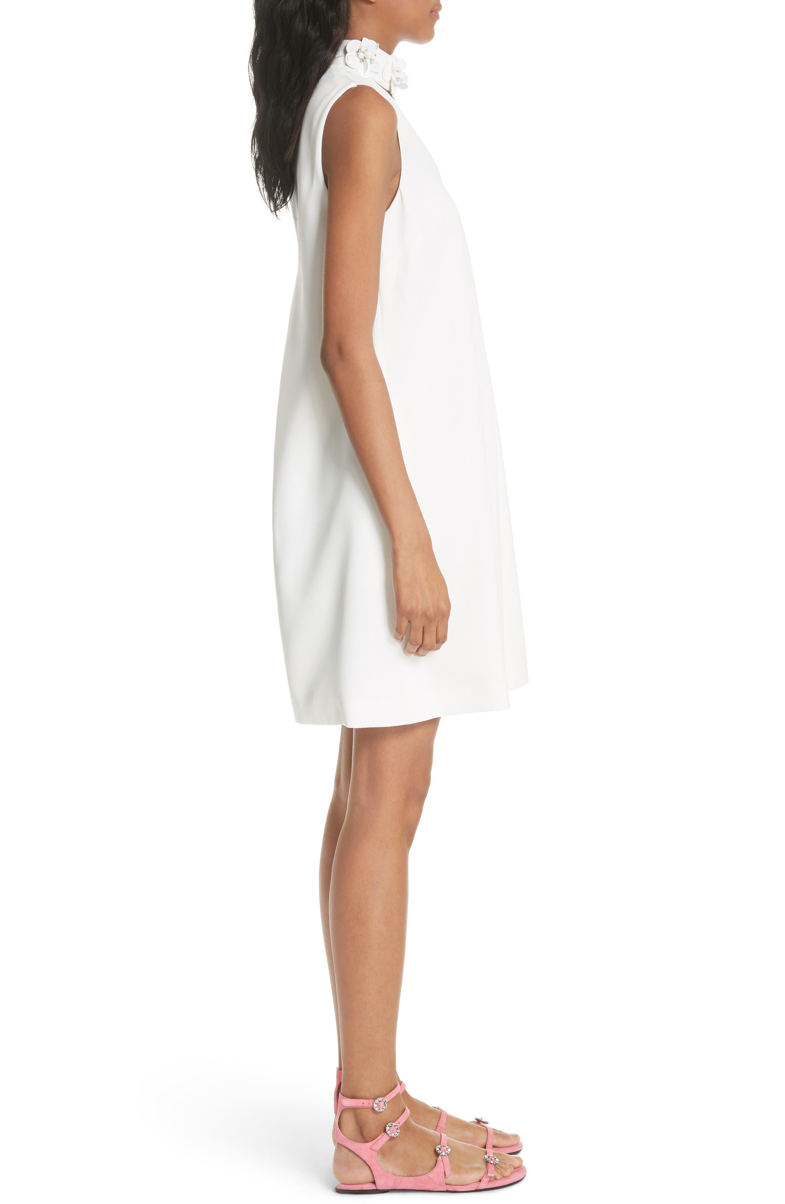 Embellished Neck A-Line Tunic Dress,                             Alternate thumbnail 3, color,                             White
