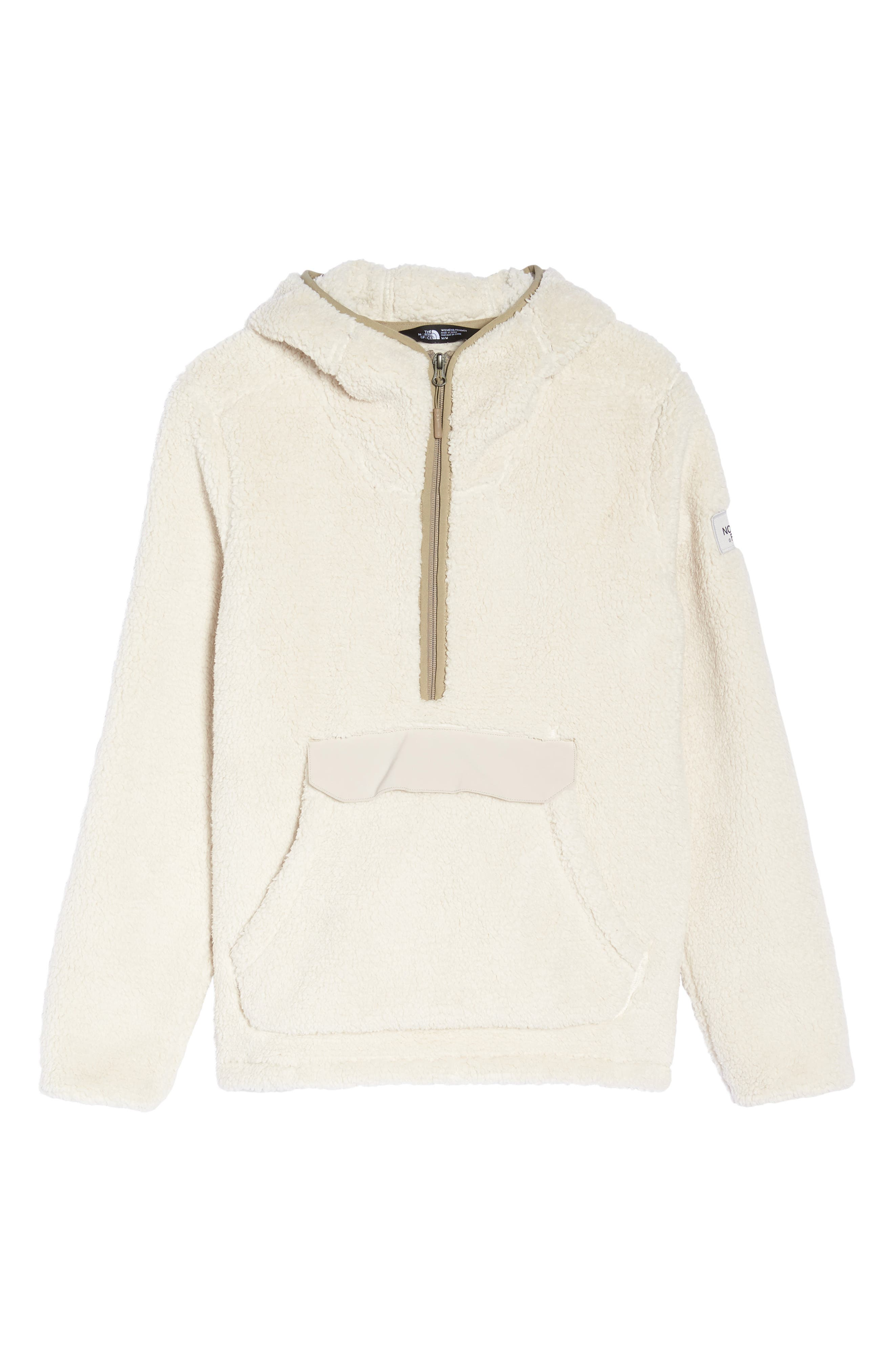 Campshire High Pile Fleece Pullover Hoodie,                             Alternate thumbnail 7, color,                             Vintage White/ Peyote Beige
