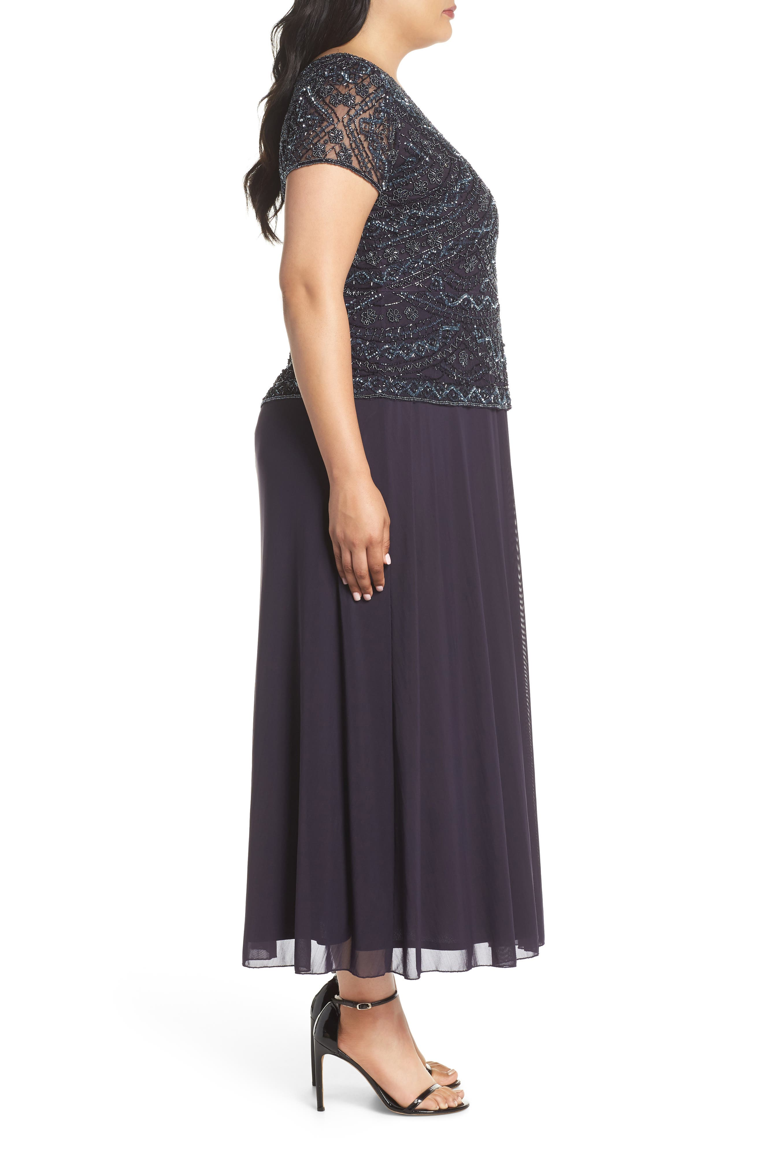 Beaded Mock Two-Piece Gown,                             Alternate thumbnail 3, color,                             Eggplant