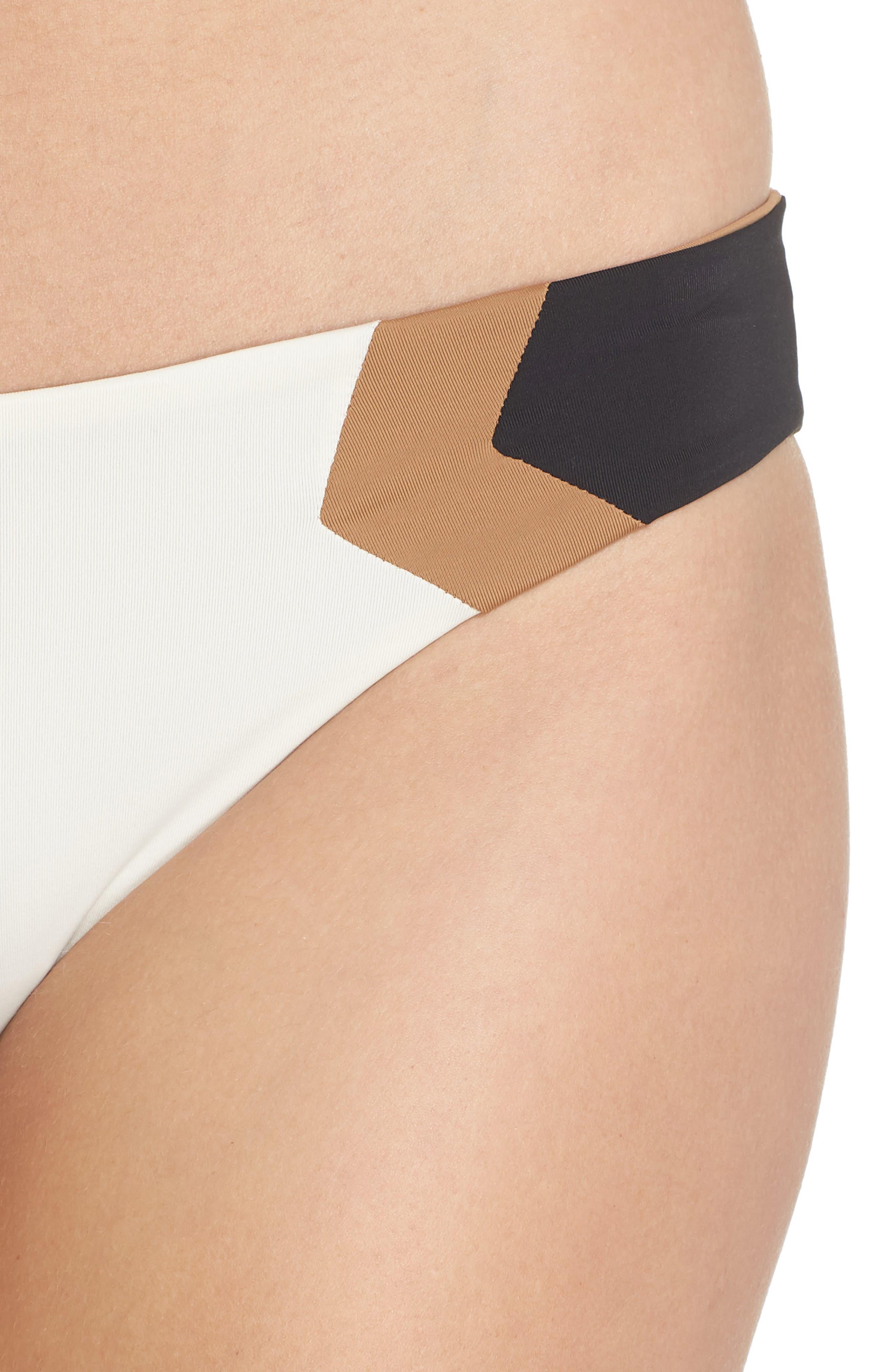 Baracuda Reversible Classic Hipster Bikini Bottoms,                             Alternate thumbnail 4, color,                             Cream/ Black/ Camel