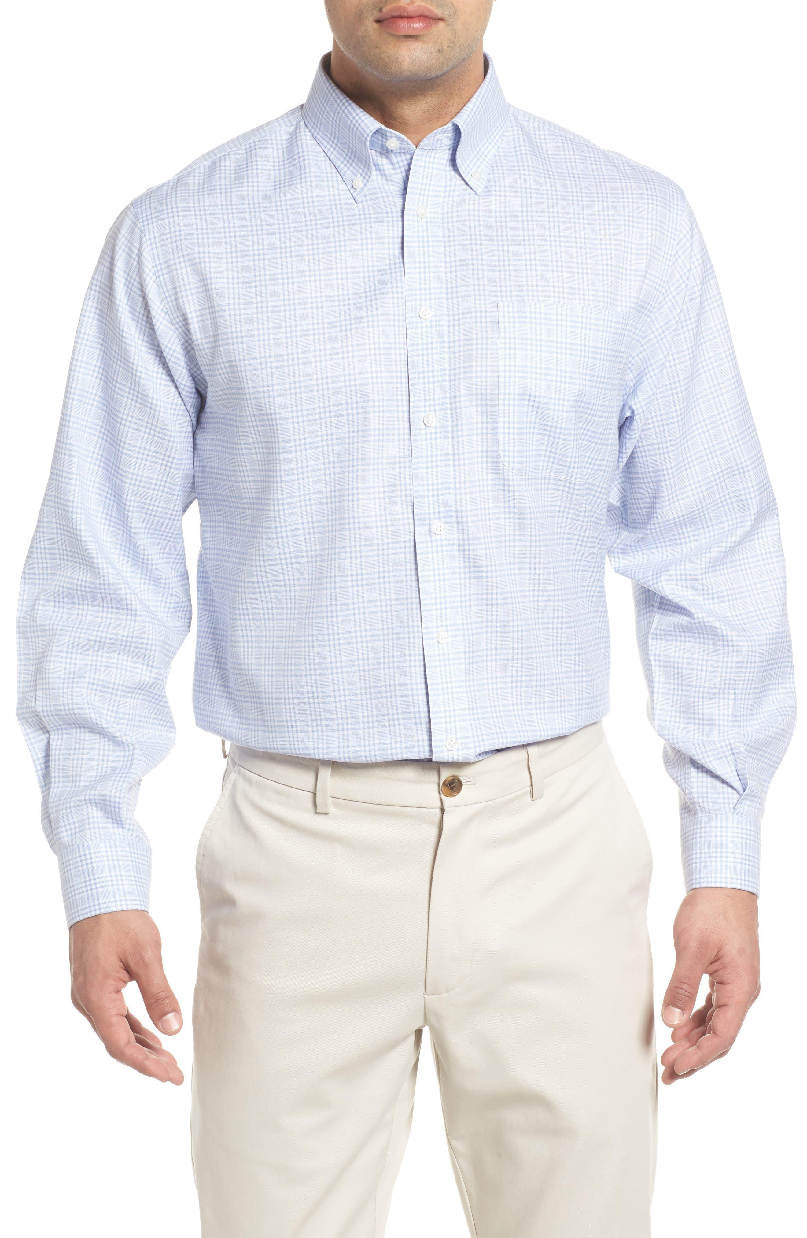 Smartcare<sup>™</sup> Classic Fit Plaid Dress Shirt,                             Main thumbnail 1, color,                             Blue Brunnera