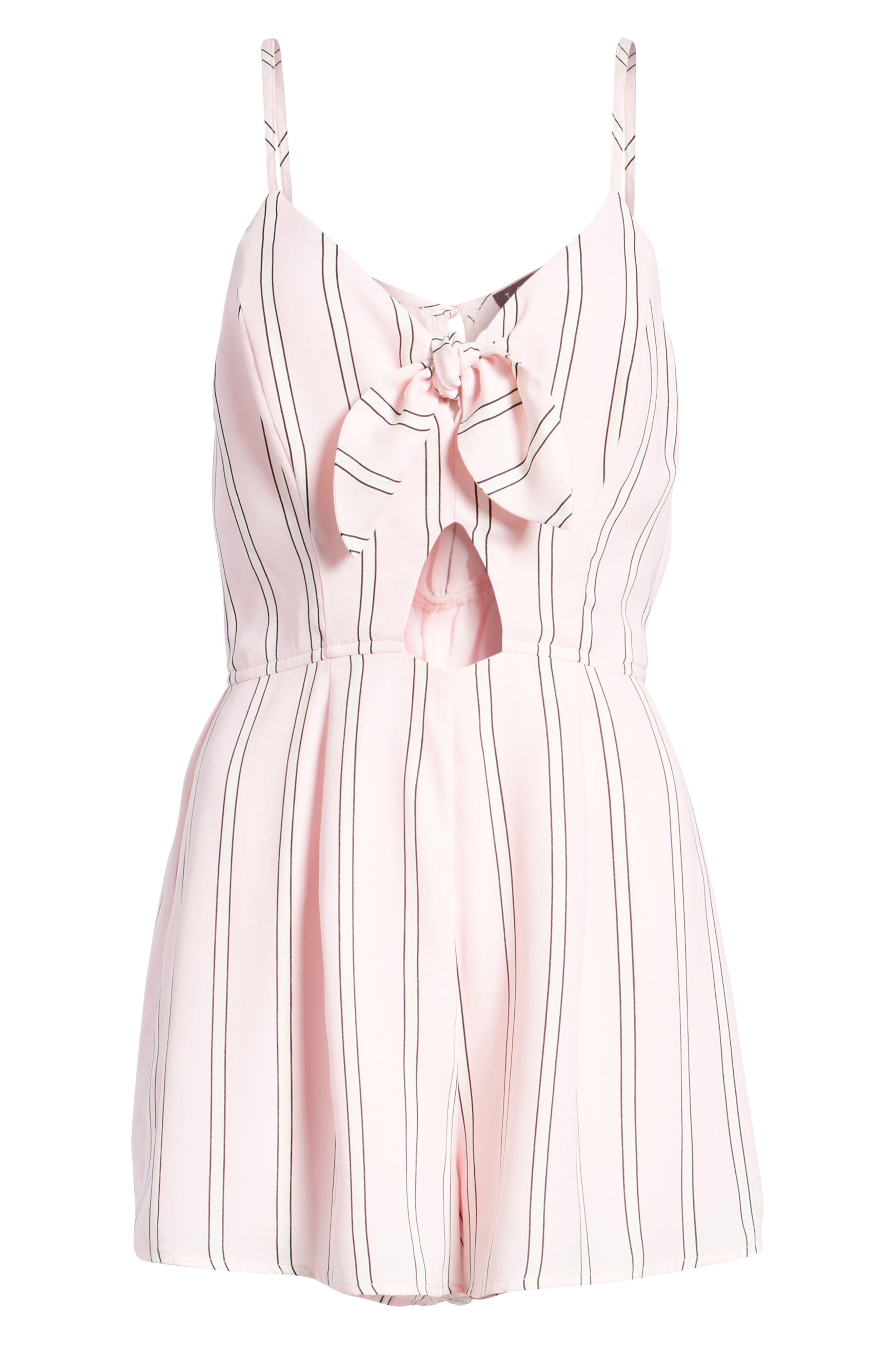 Tie Front Cutout Romper,                             Alternate thumbnail 7, color,                             Pink Stripe