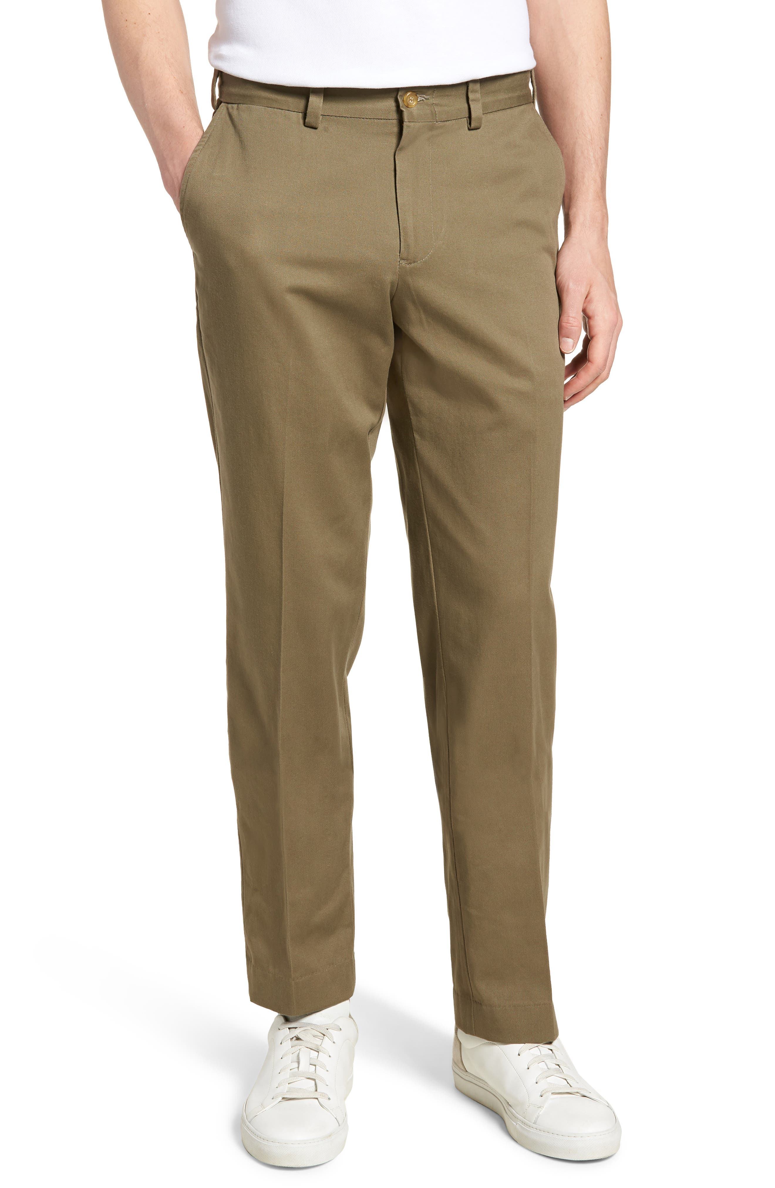 M3 Straight Fit Flat Front Vintage Twill Pants,                         Main,                         color, Olive