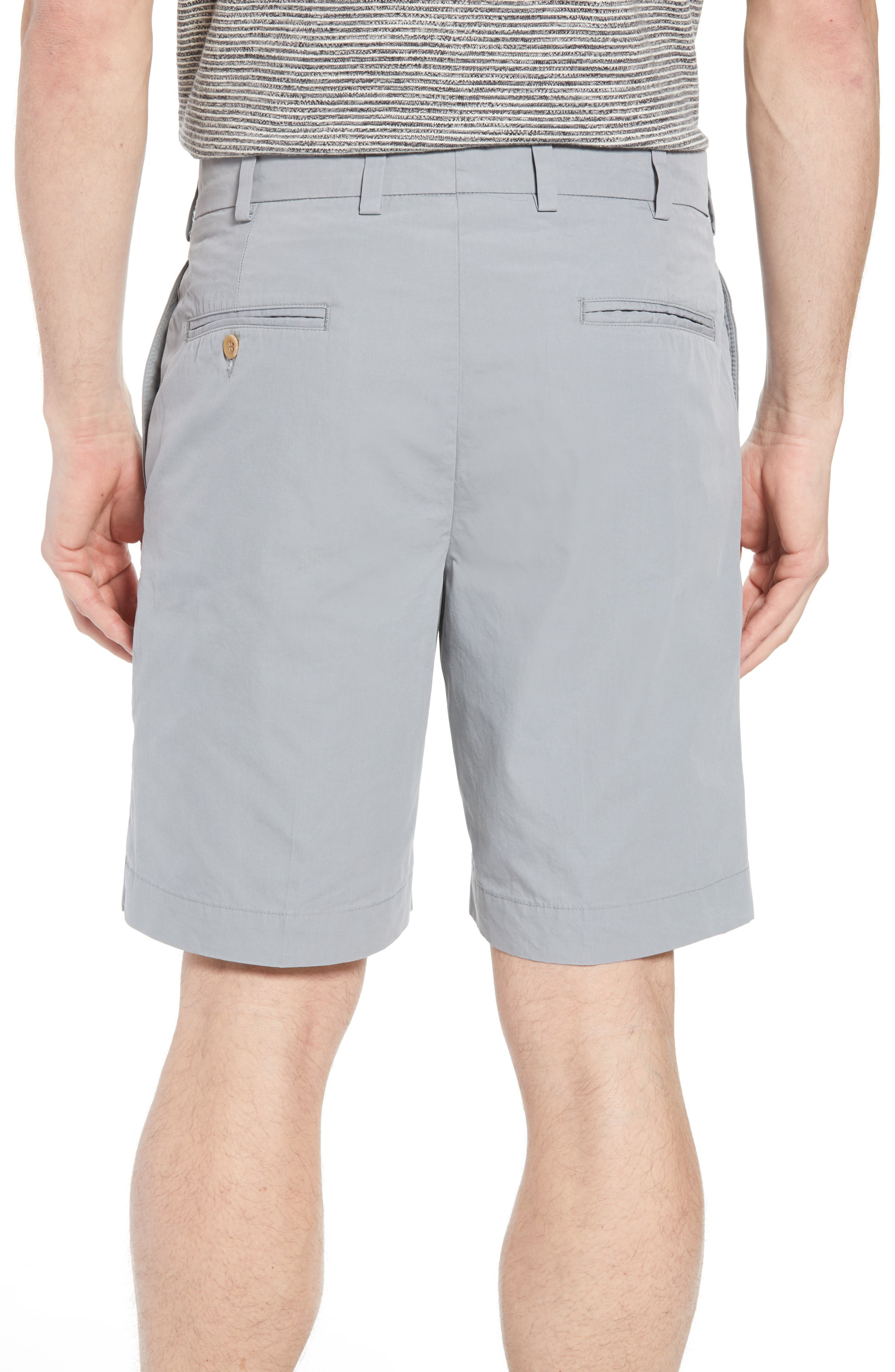 M2 Classic Fit Flat Front Tropical Cotton Poplin Shorts,                             Alternate thumbnail 2, color,                             Nickel