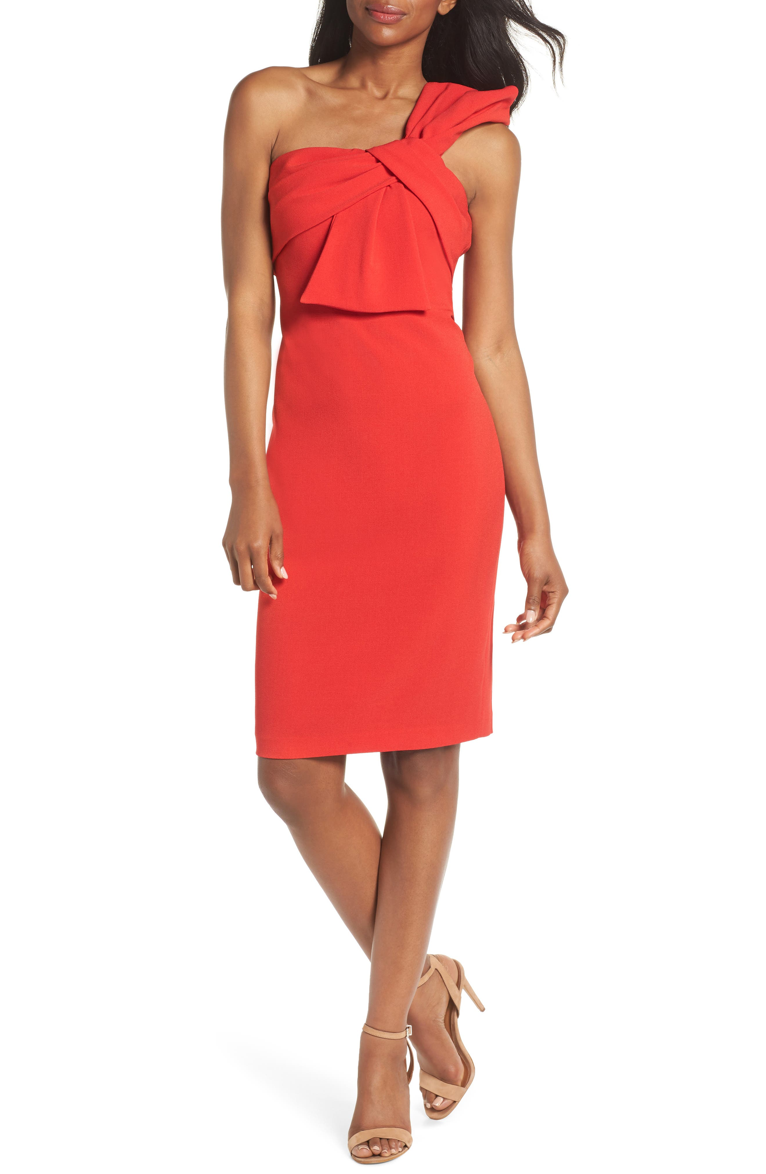 One-Shoulder Twist Front Sheath Dress,                         Main,                         color, Red