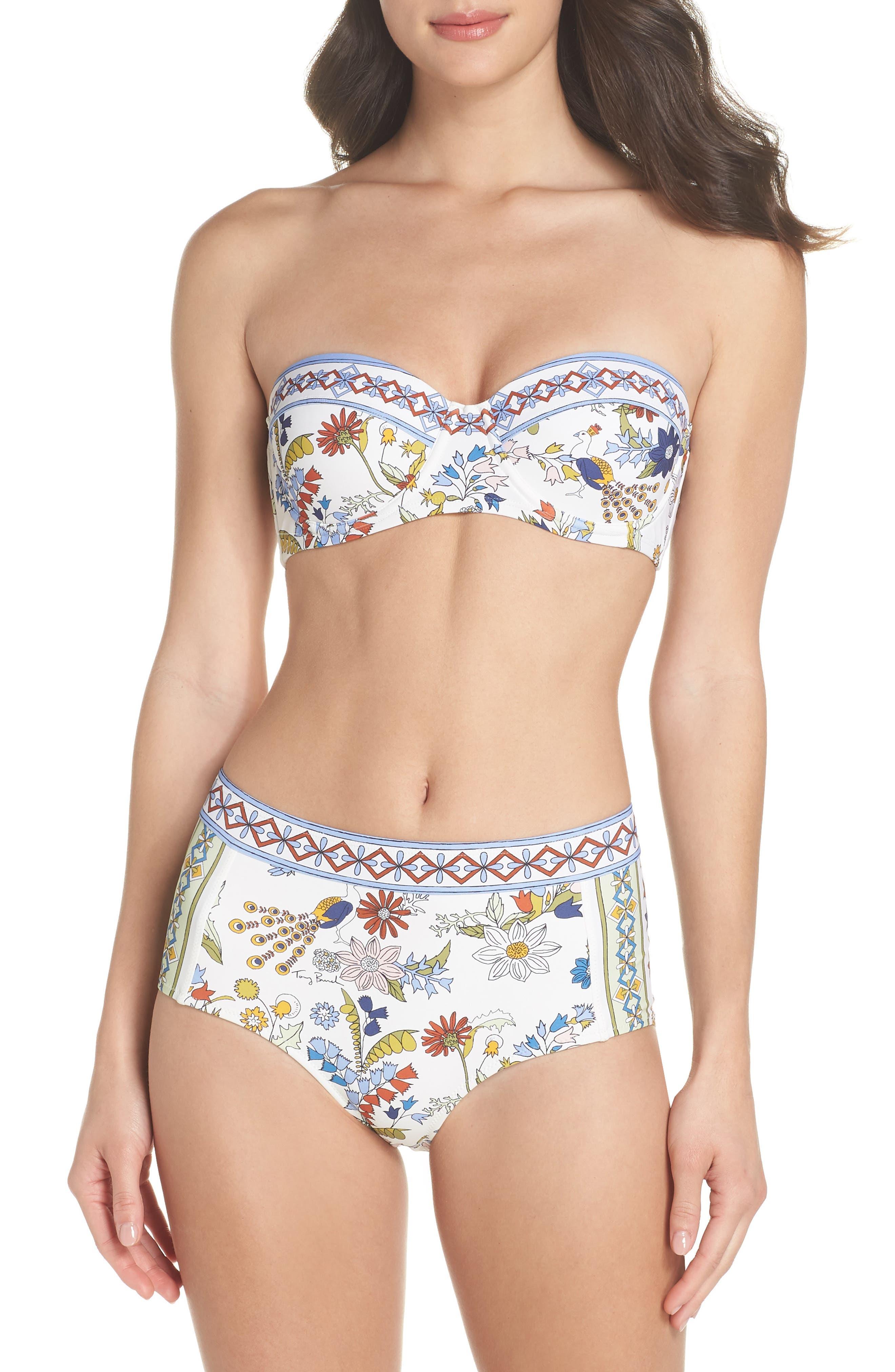 Meadow Folly Bikini Top,                             Alternate thumbnail 6, color,                             Ivory Meadow Folly