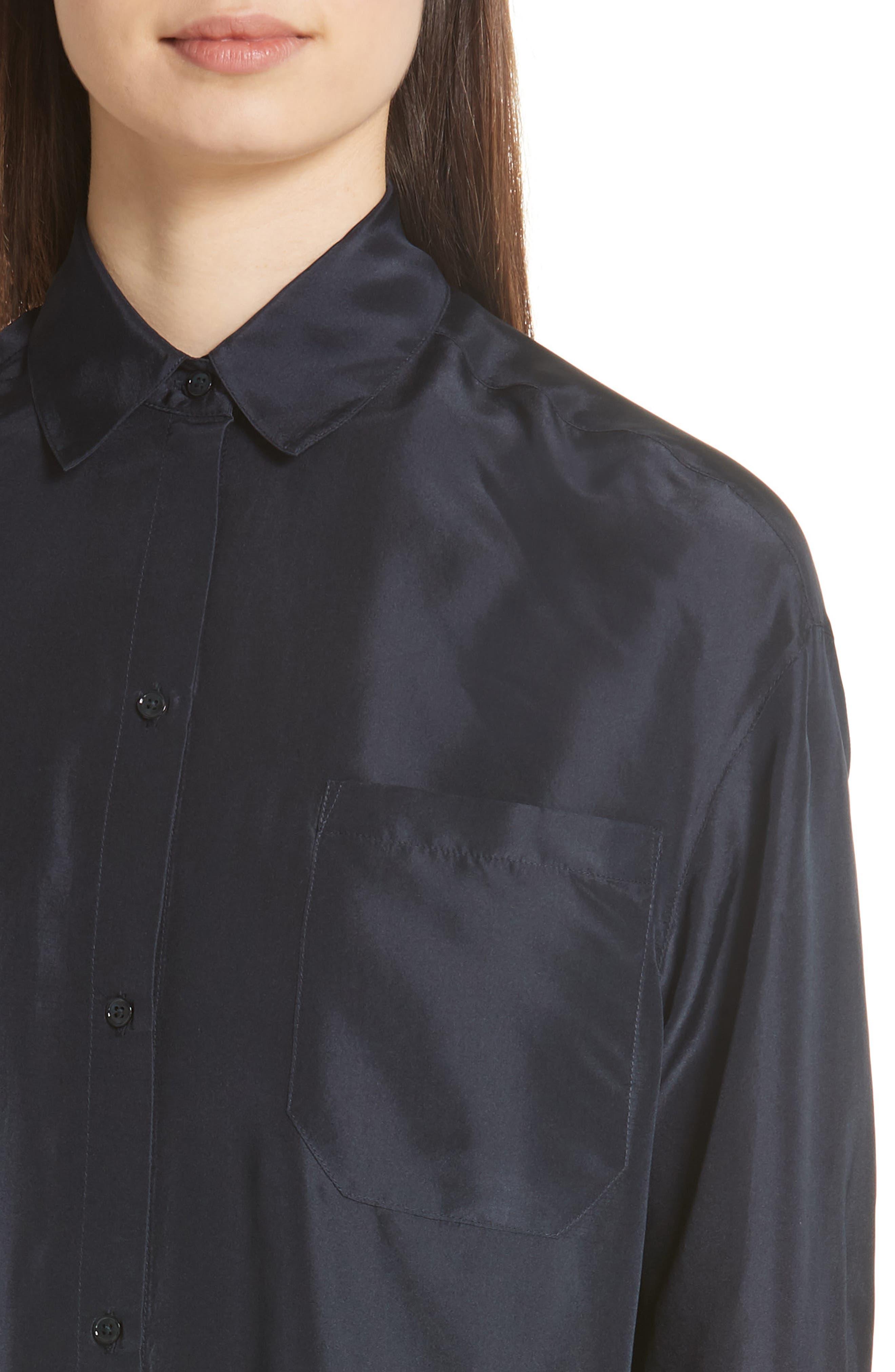 Silk Shirtdress,                             Alternate thumbnail 4, color,                             Coastal