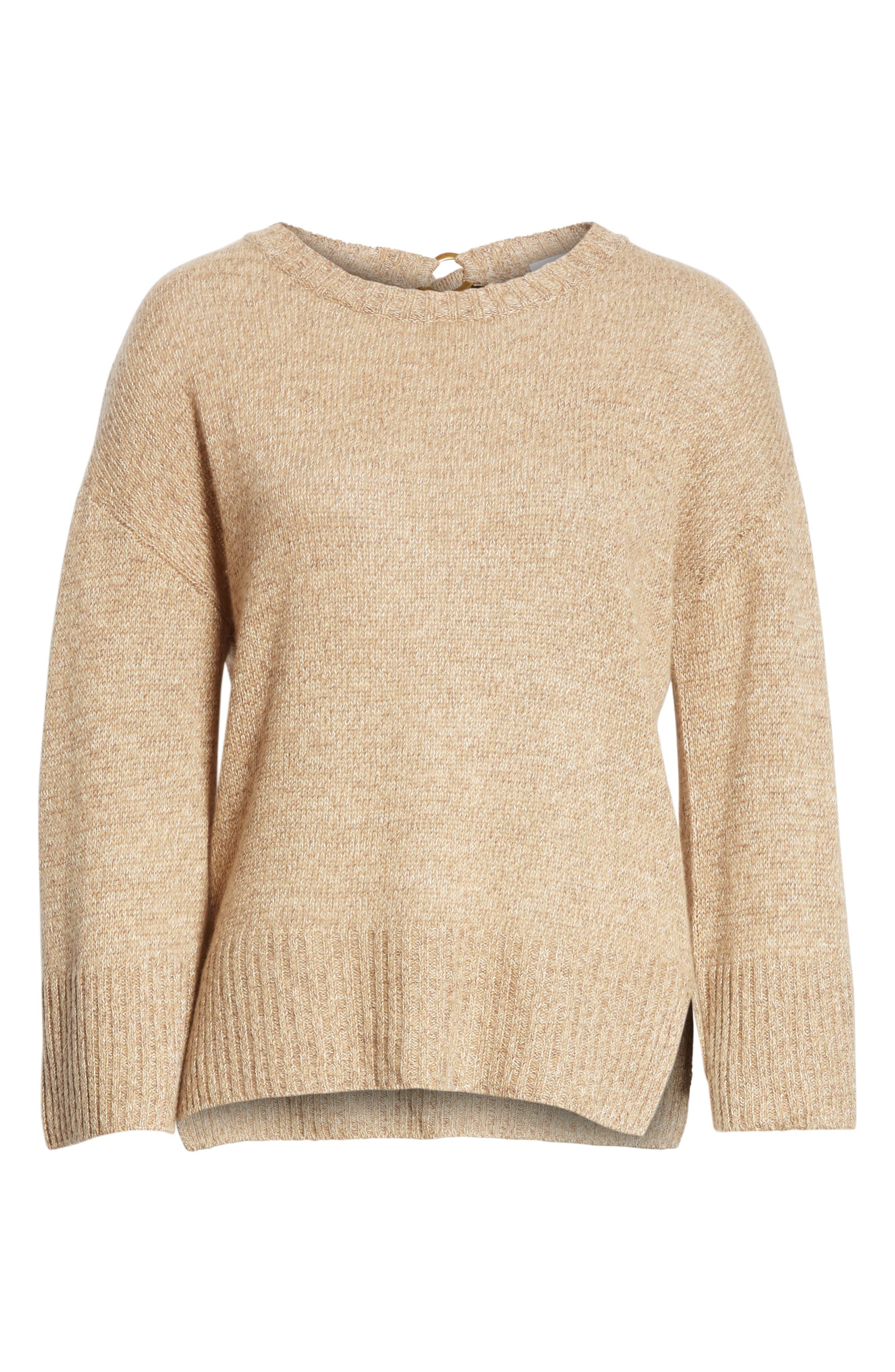 Keyhole Back Sweater,                             Alternate thumbnail 6, color,                             Camel