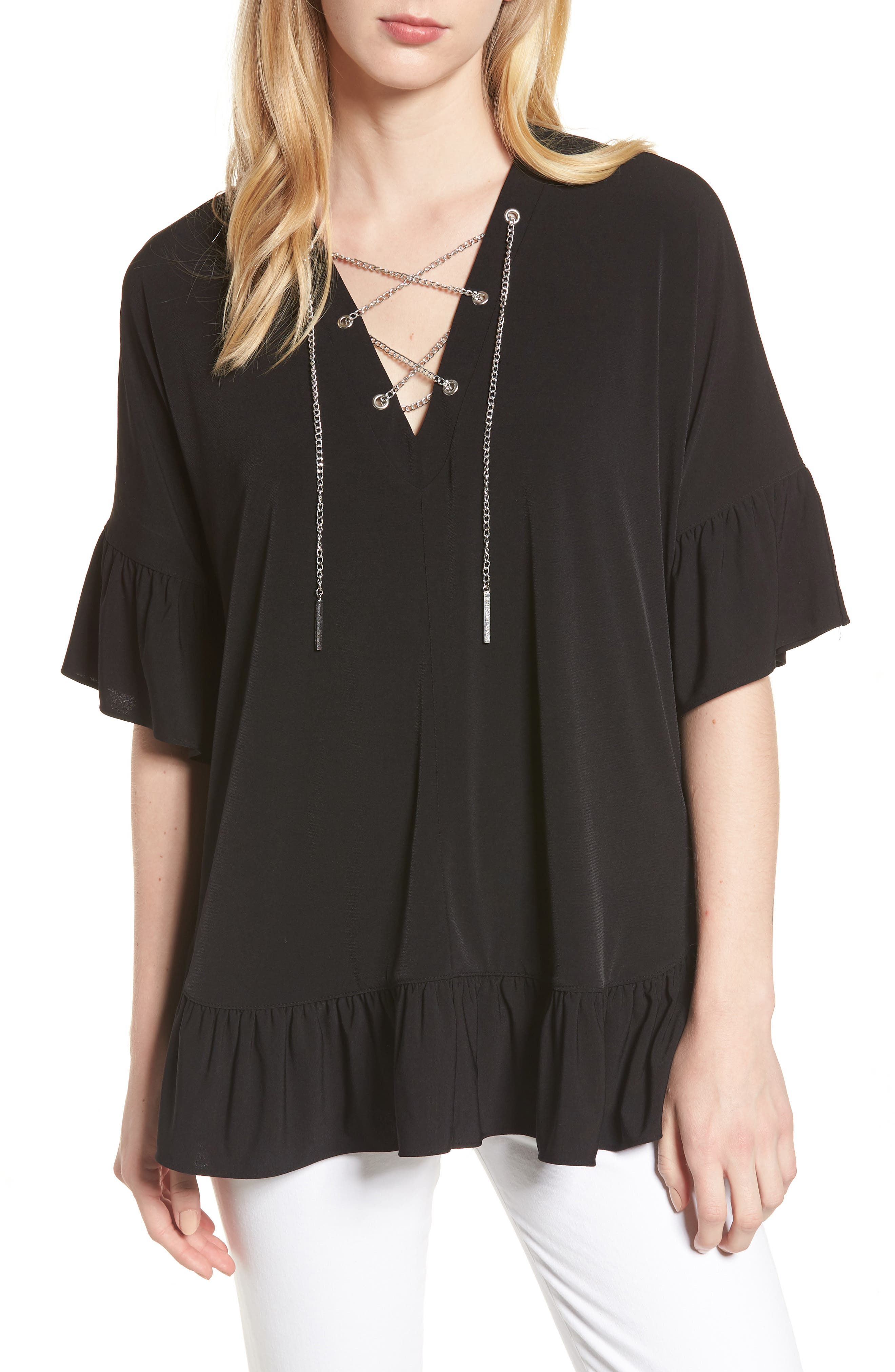 Chain Lace Caftan Top,                         Main,                         color, Black/ Silver