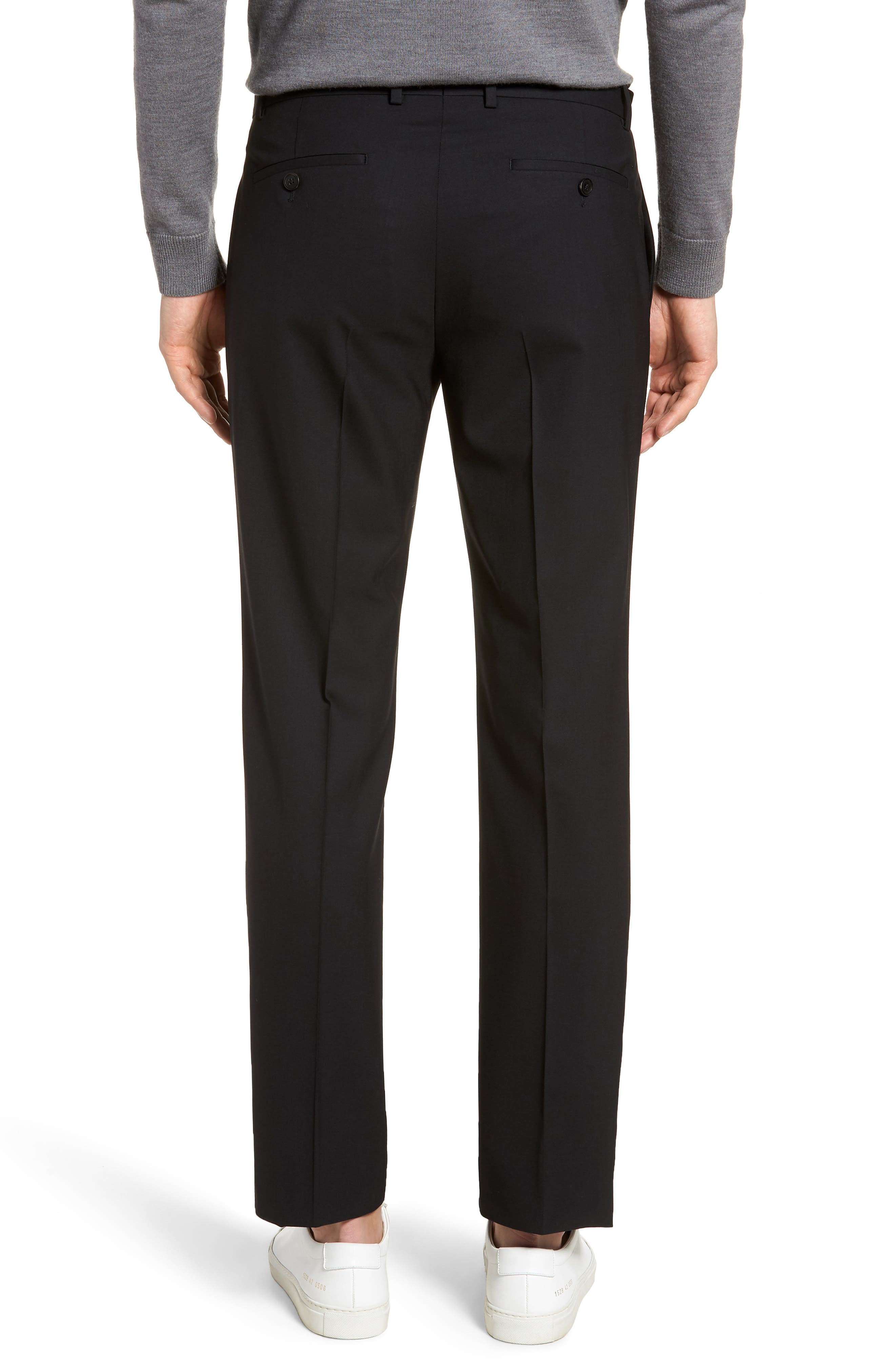 Marlo Flat Front Stretch Wool Pants,                             Alternate thumbnail 2, color,                             Black