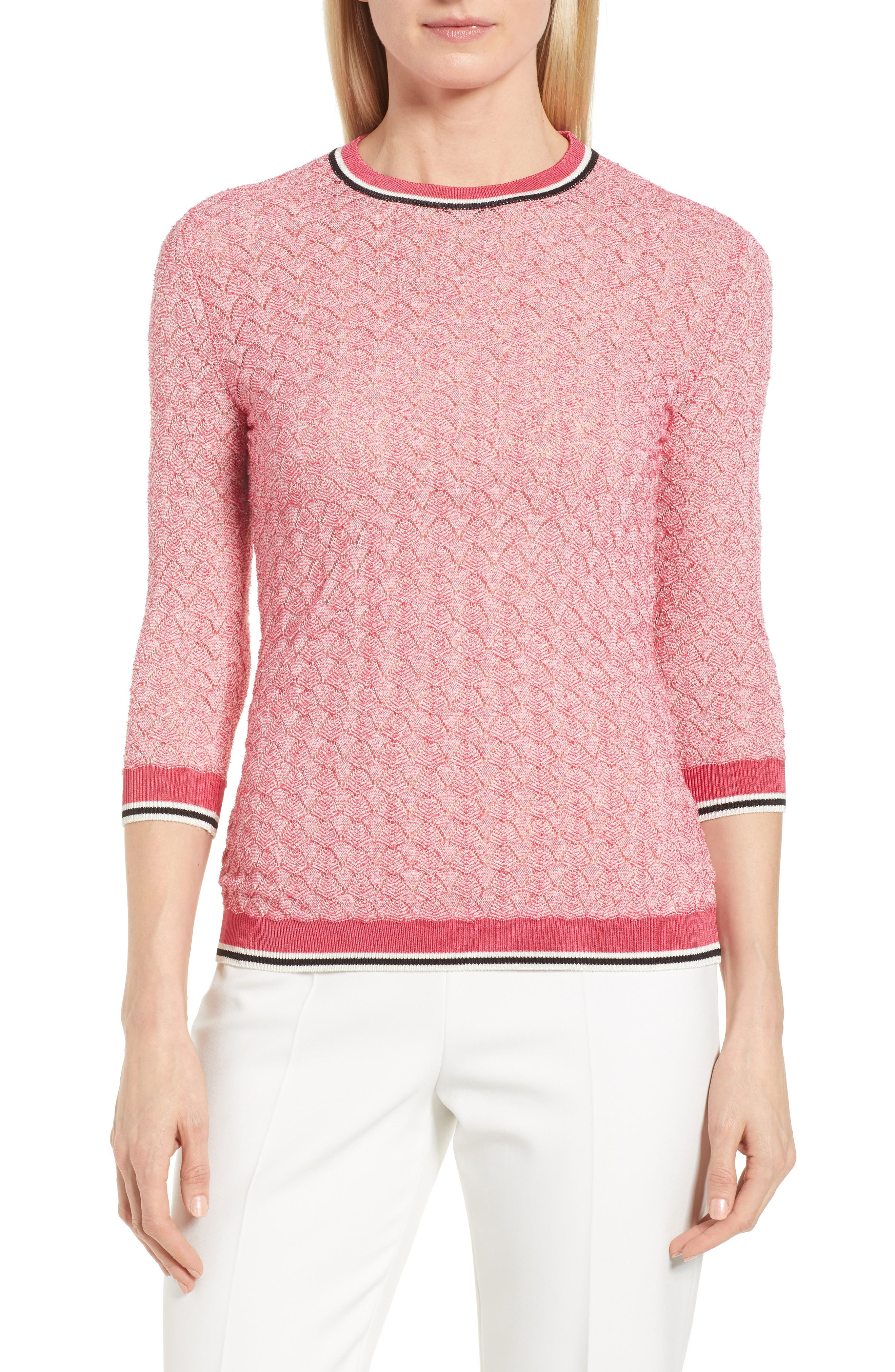 Basket Weave Sweater,                         Main,                         color, Lychee Fantasy