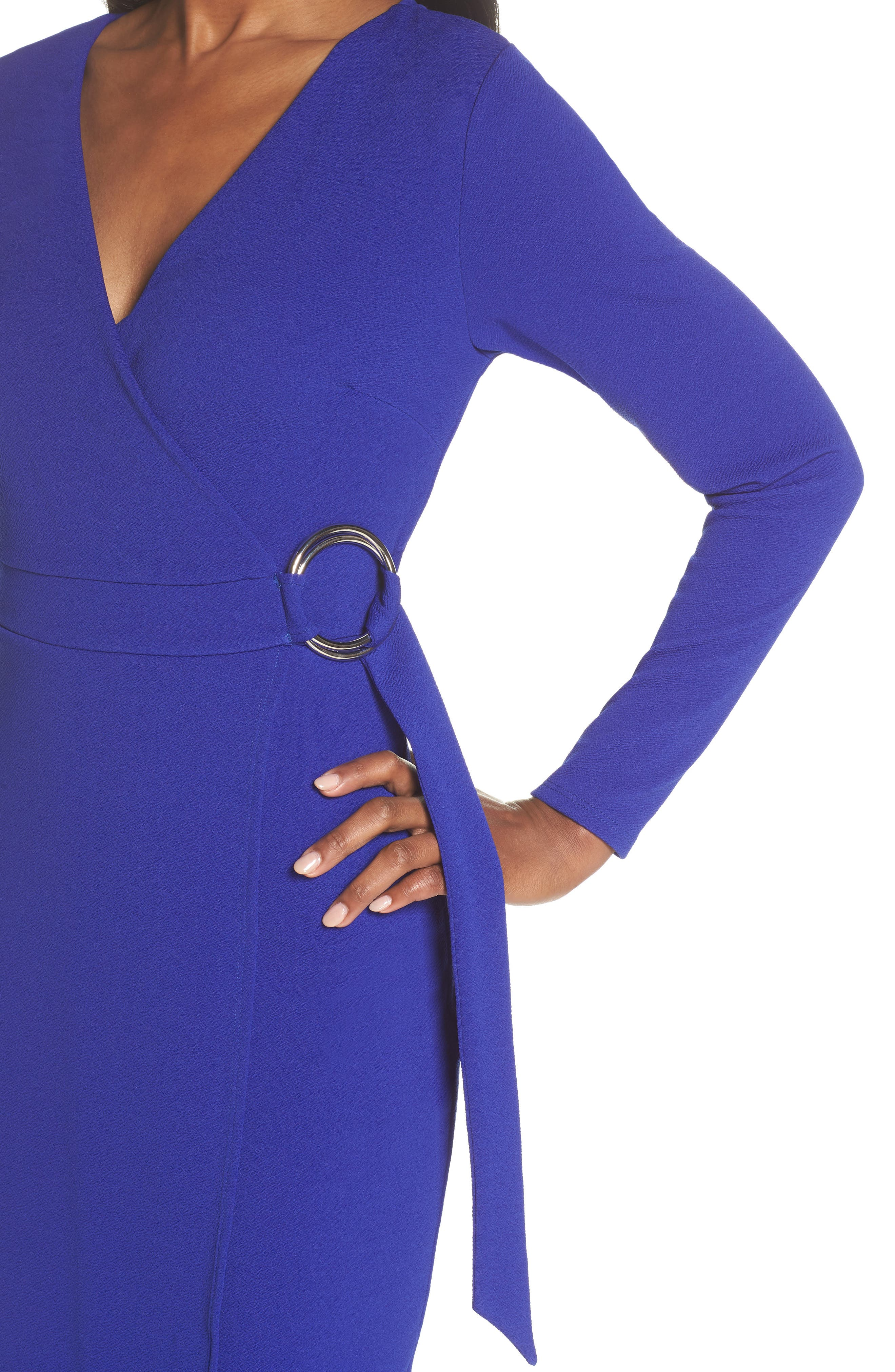 Ring Tie Wrap Dress,                             Alternate thumbnail 3, color,                             Cobalt