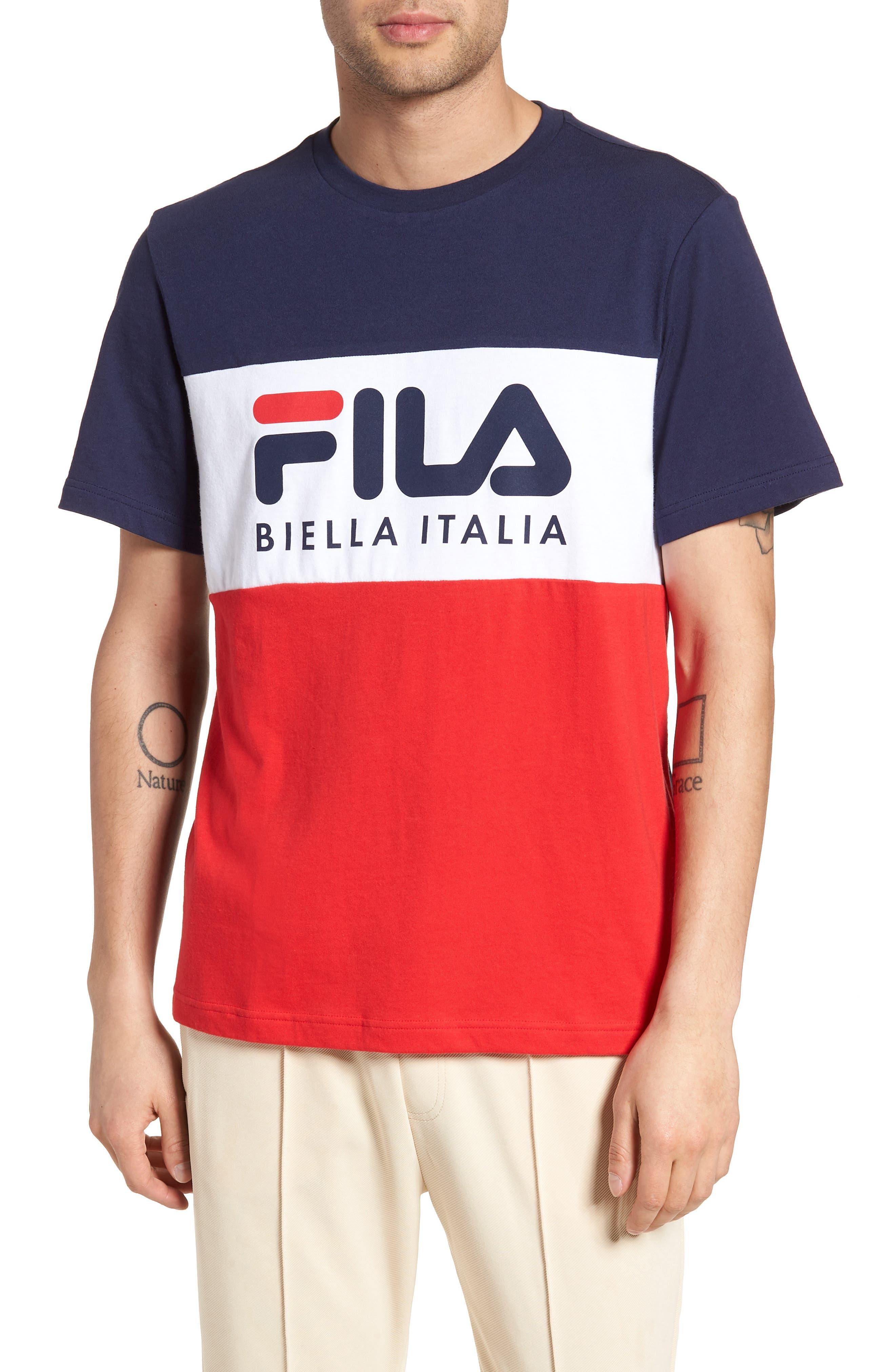 Biella Italia T-Shirt,                             Main thumbnail 1, color,                             Navy/ White/ Red