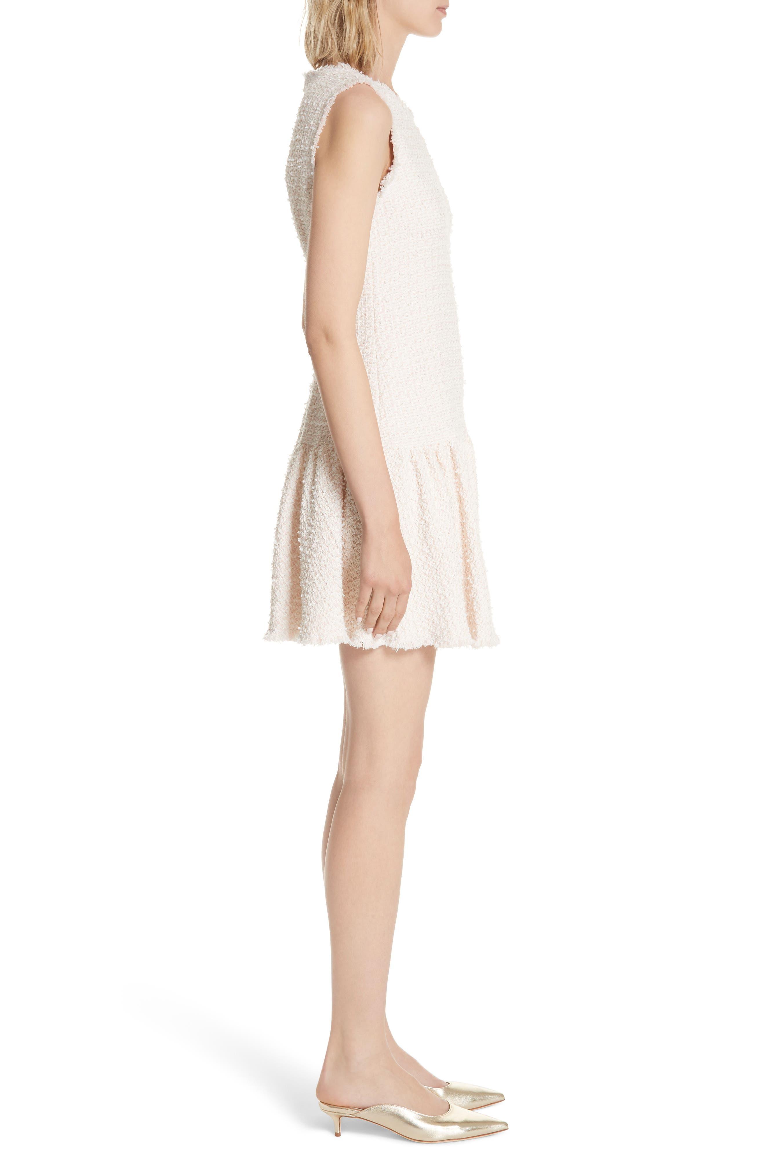 Drop Waist Tweed Dress,                             Alternate thumbnail 3, color,                             Powder Pink