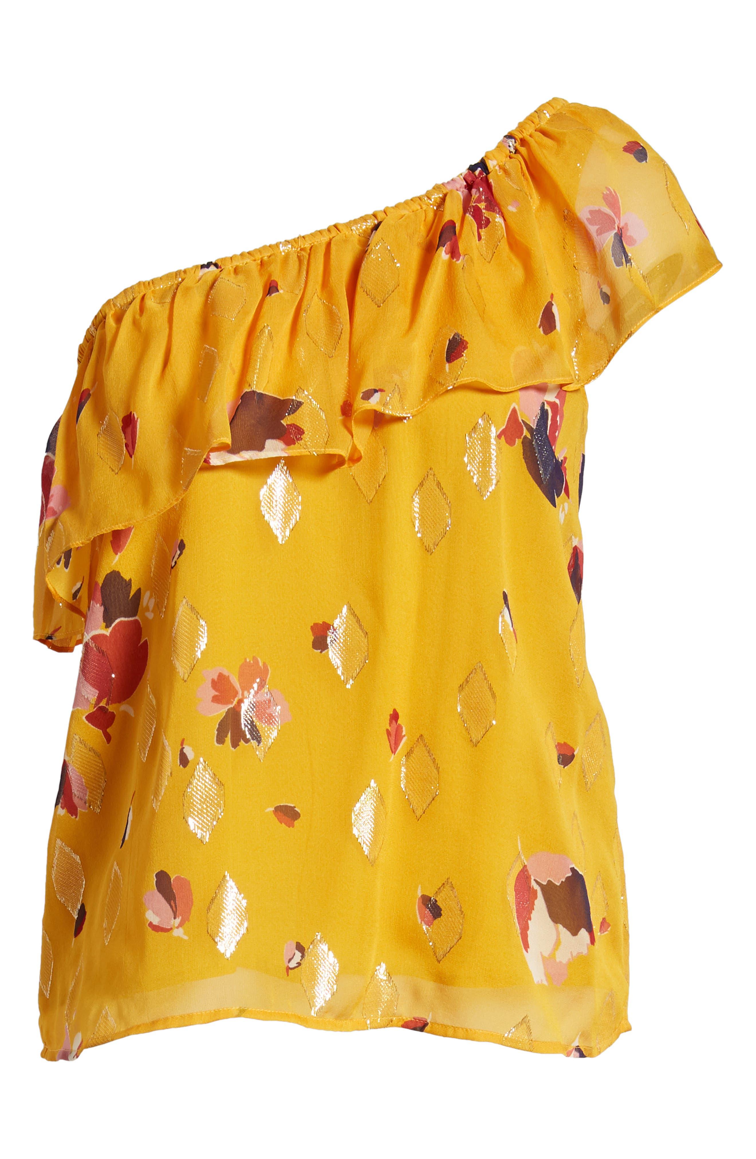 Adelie Ruffle One-Shoulder Metallic Silk Blouse,                             Alternate thumbnail 6, color,                             Big Flowers 60S On Saffron