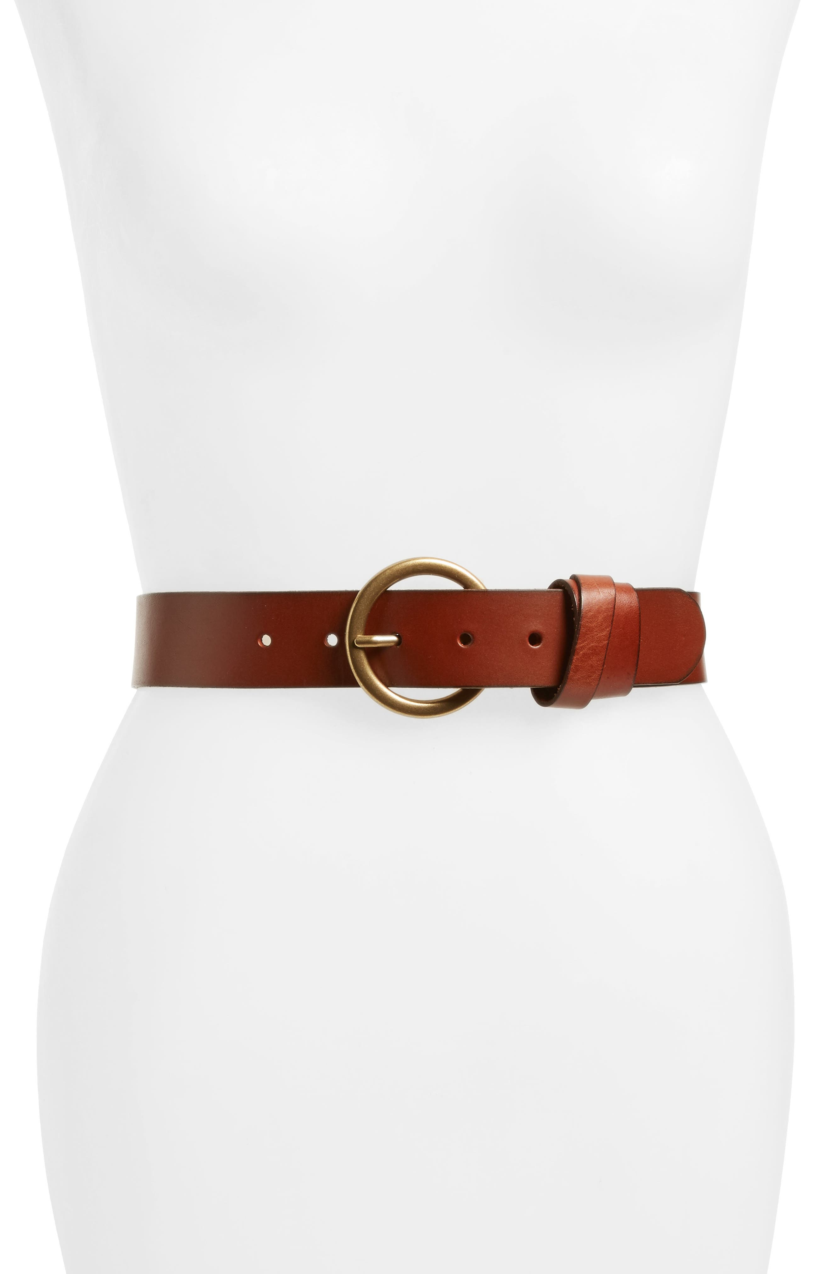 Double Loop Leather Belt,                             Main thumbnail 1, color,                             Brown Amber