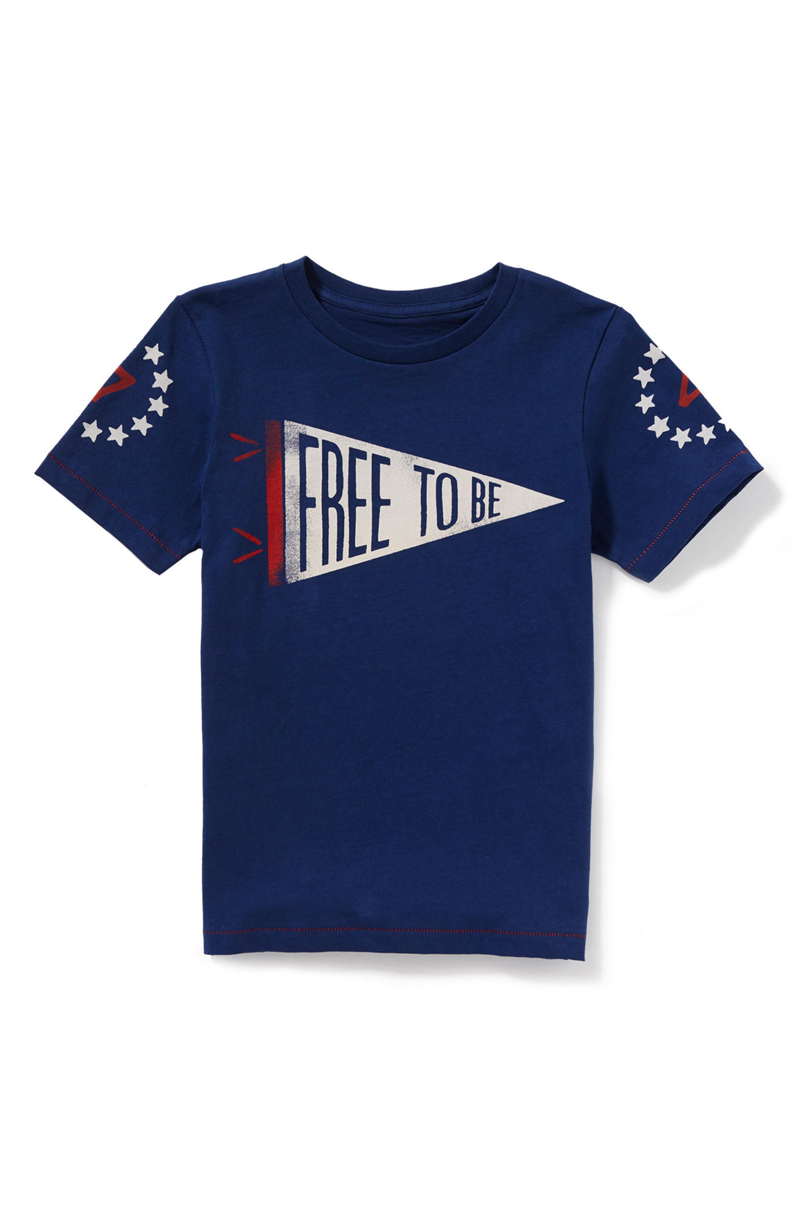 Free to Be Graphic T-Shirt,                             Main thumbnail 1, color,                             Navy