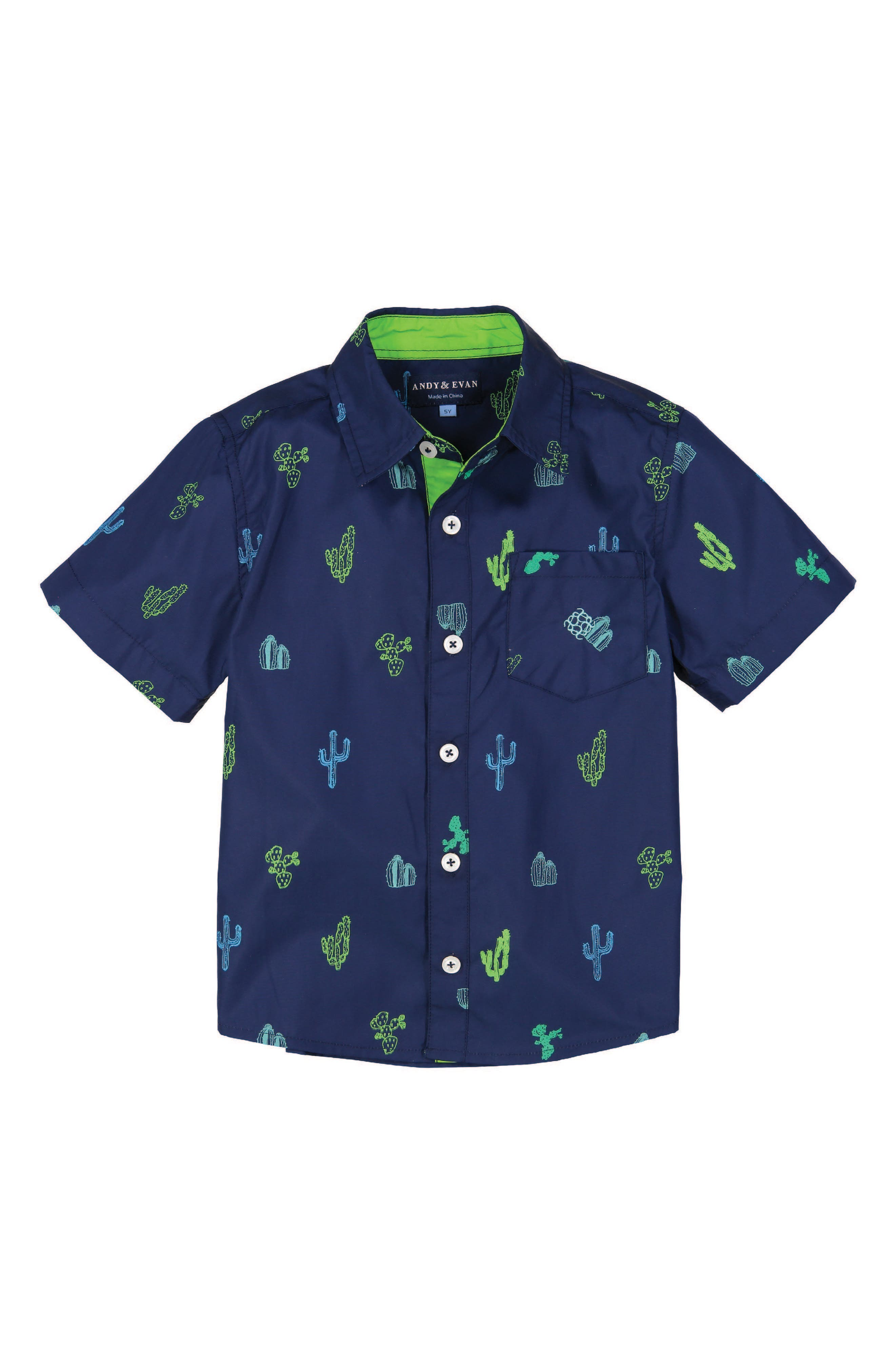 Catcus Print Woven Shirt,                         Main,                         color, Navy