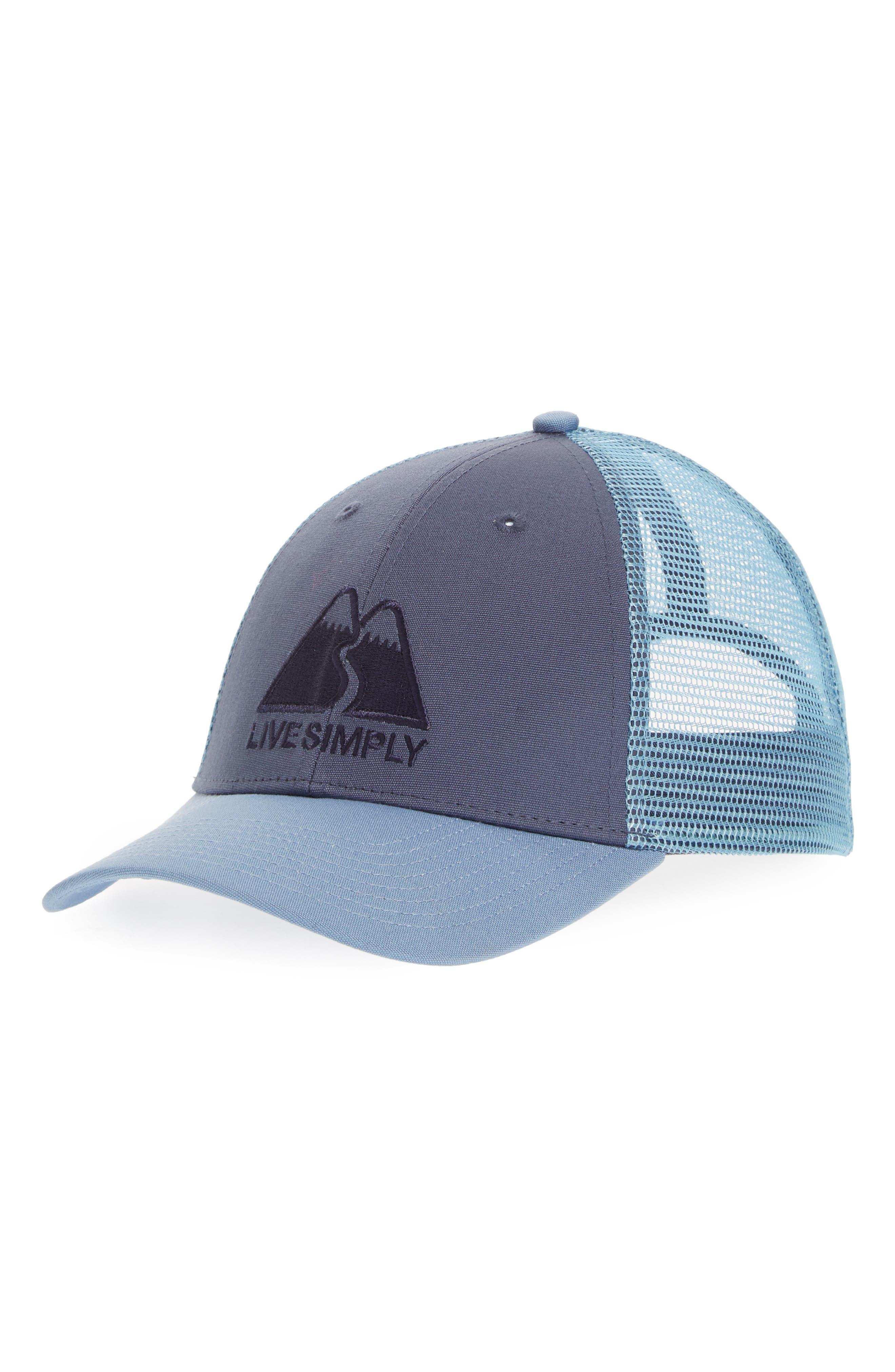 Live Simply Trucker Hat,                             Main thumbnail 1, color,                             Dolomite Blue