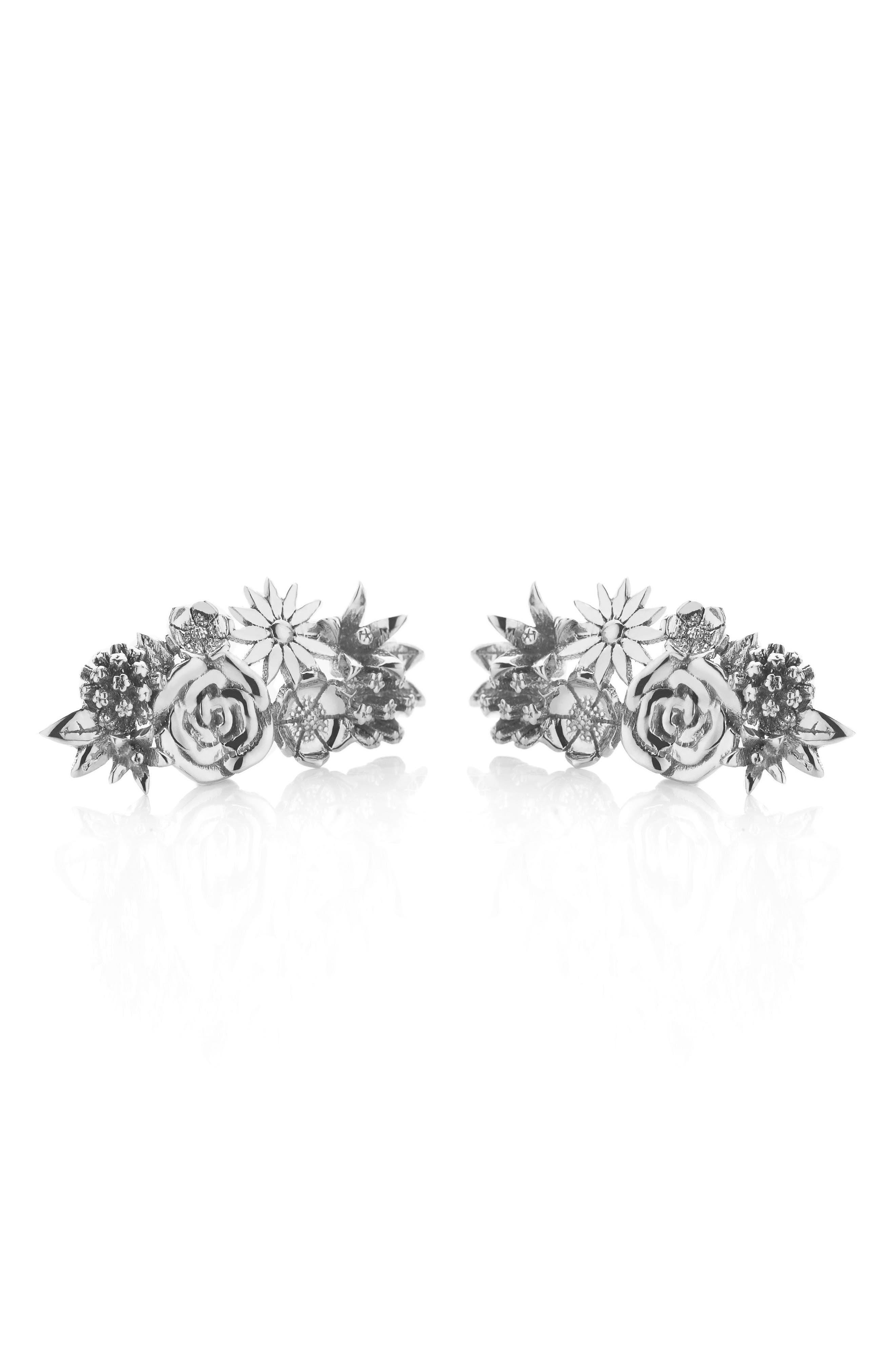 Overgrown Stud Earrings,                             Main thumbnail 1, color,                             Silver