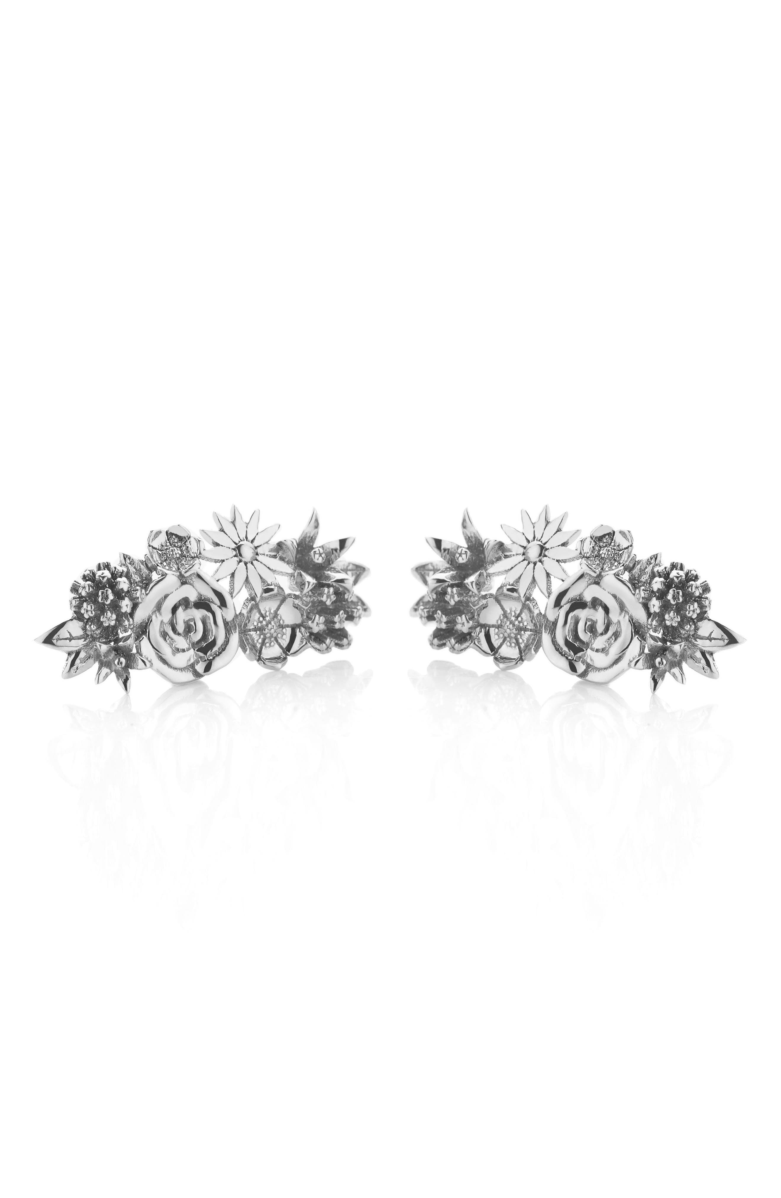 Overgrown Stud Earrings,                         Main,                         color, Silver