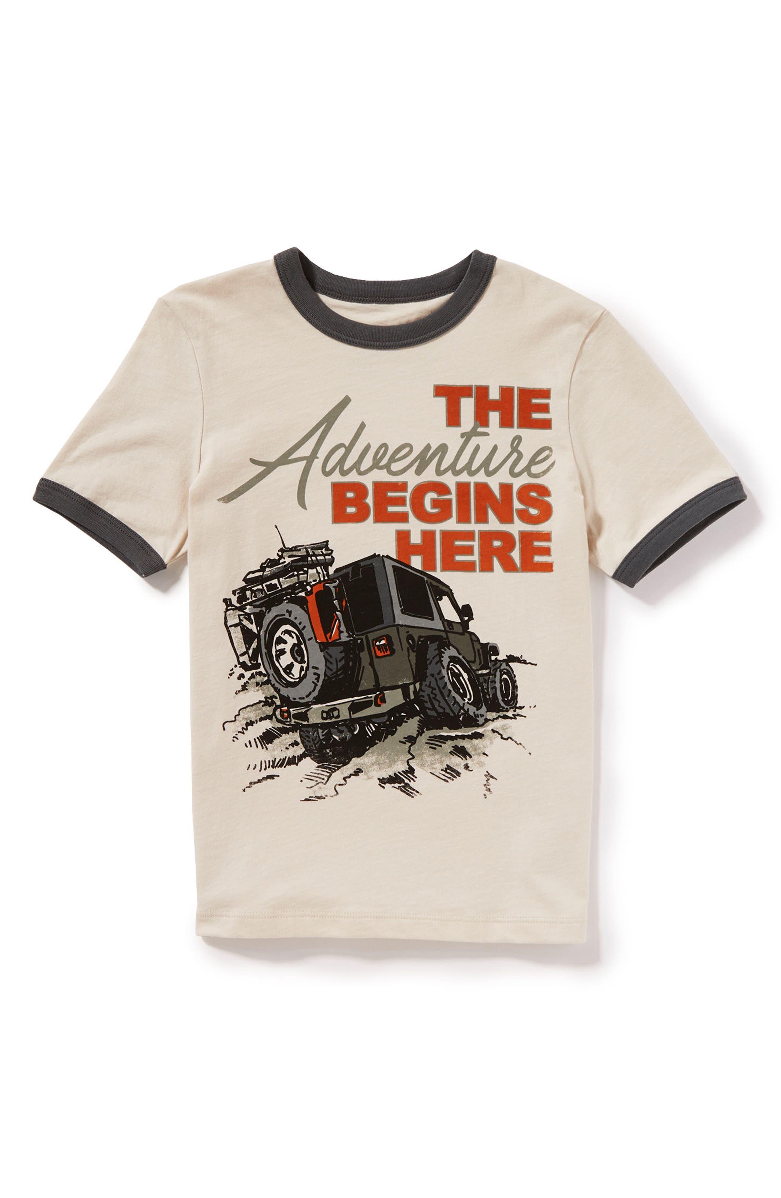 The Adventure Begins Here Graphic T-Shirt,                             Main thumbnail 1, color,                             Khaki